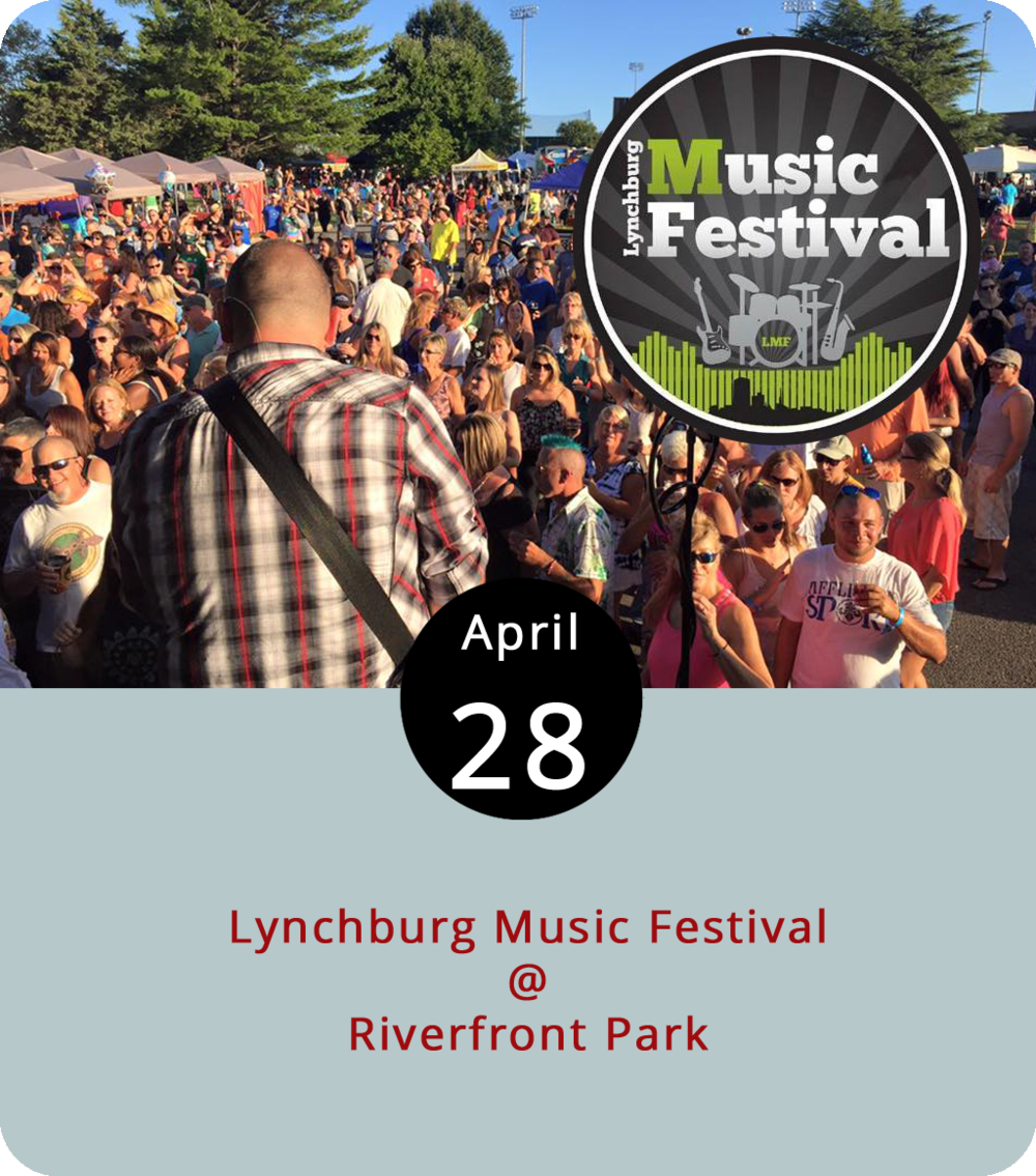 With summer just around the corner, it's time for concerts at Riverfront Park (1100 Jefferson St.) to get underway. Today the park hosts the Lynchburg Music Festival, which features local and regional bands doing rock, pop, country, and many other genres. The show starts at 1:30 p.m. with Central Virginia's Rare Form, a modern country cover band, and ends with a 7-9 p.m. set by the Worx, who do everything from Journey to the Beastie Boys to Zac Brown Band covers. Tickets are $20 in advance and $25 at the gate. For a list of performers, tickets, and additional info, click  here .