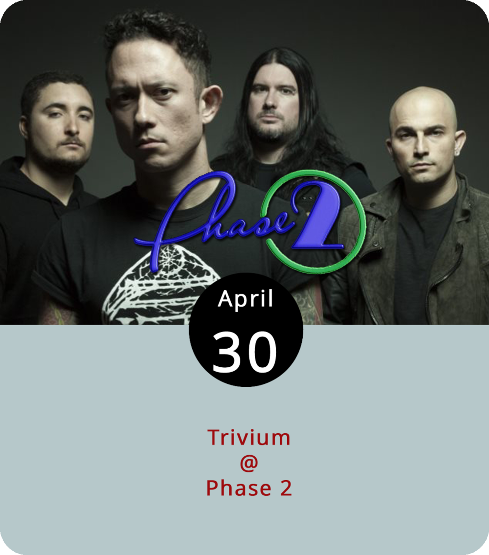 The rock gets a little harder, heavier, and more metallic this evening at Phase 2 (4009 Murray Pl.) with the arrival of Florida foursome Trivium. In fine heavy metal tradition, Trivium get their name from a Latin word that referred in medieval times to the study of grammar and rhetoric at the university level. Their sound is derived from the late-'90s heyday of alt-metal, which is when Trivium first broke out of Orlando. Since then they've released eight studio albums, including last year's  The Sin and the Sentence , and racked up a whole shelf-load of  Kerrang!  metal awards. They play from 7:30 to 10:30 p.m., with doors at 6:30. It's an all-ages show, with  tickets  starting at $5; click  here  or call (434) 846-3206 for more info.