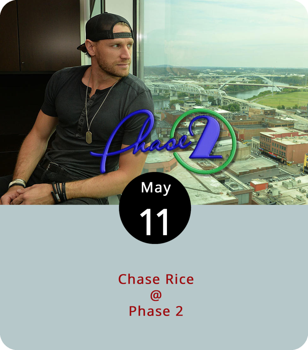 "Chase Rice is currently on the road in the guise of a country music singer, which is one of the things he does. However, you may also know him as the runner up from 2010's  Survivor: Nicaragua . We also hear that he's done a few stints as a stock car crewman. Rice, whose musical credits include co-writing the Florida Georgia Line 2012 hit ""Cruise,"" released his latest album,  Lambs & Lions , back in November of last year. He's supporting it with a set this evening at Phase 2 (4009 Murray Pl.). Doors open at 7 p.m. and the show starts at 8 p.m. General admission tickets are $20. For tickets and info, click  here  or call (434) 846-3206."