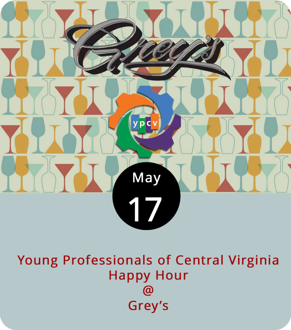 It's fitting that the  Young Professionals of Central Virginia  will hold their monthly networking happy hour at Grey's (512 5th St.) tonight. The organization's purpose is to keep young talent in the Hill City, and Grey's is a bona fide, locally owned, start-up business that gives folks with good taste another reason to stick around. The dinner menu at Grey's might features a rack of ribs, a NY strip steak, herb crusted and blackberry glazed pork, and maybe some chicken fried cauliflower steaks. If they've got the soft pretzel on the menu, we definitely recommend it. It's way better than a pretzel has any right to be. The Young Professionals meet at 5:35 p.m. No membership is required to attend. For more info, click  here , and if you want to reach Grey's call (434) 616-4939.