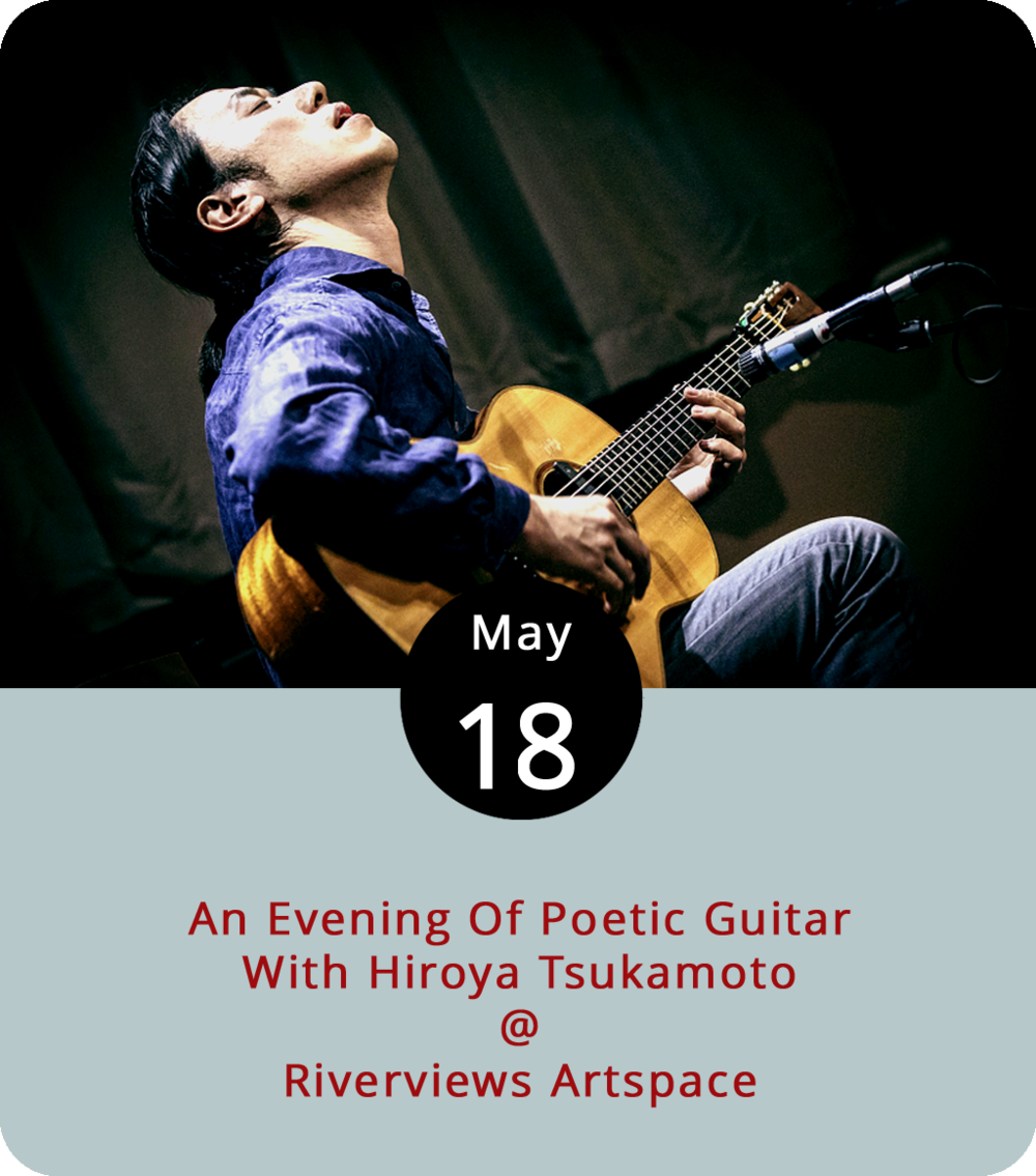 "Expect a blend of genres and cultures tonight as Hiroya Tsukamoto performs what he's dubbed ""poetic guitar music"" in Lynchburg for the first time. Tsukamoto's from Kyoto, which is in Japan, and he started his musical journey on the five-string banjo. After moving to the States almost 20 years ago, he formed INTEROCEANICO, a transcontinental group of musicians who were not afraid to experiment with cross-cultural forms. His solo work draws from folk stories, poetry, and Japanese folk music. He's at Riverviews Artspace (901 Jefferson St.) in the Rosel H. Schewel Theatre. Tickets are $15 for the 8 p.m. show. Click  here  or call (434) 847-7277 for more info."