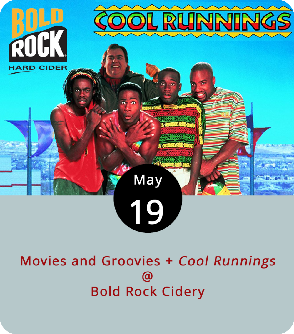 "One of Lynchburg's strengths is its proximity to craft beverage makers located throughout the surrounding counties, particularly Nelson County, where there's quite the concentration. Bold Rock Cidery (1020 Rockfish Valley Hwy.) in Nellysford is throwing a bunch of entertainment out there today for its first ever Movies and Groovies event. Starting at 6 p.m., there's live reggae music by Greg Ward and the Dubsetters and eats courtesy of the Morsel Compass food truck. Then, at dusk, they're screening the 1993 Olympic comedy  Cool Runnings , featuring Jimmy Cliff's excellent cover of the Carpenters hit ""I Can See Clearly Now."" It's totally free and sponsored in part by the Virginia Film Festival. Click  here  or call (434) 361-1030 for more info."