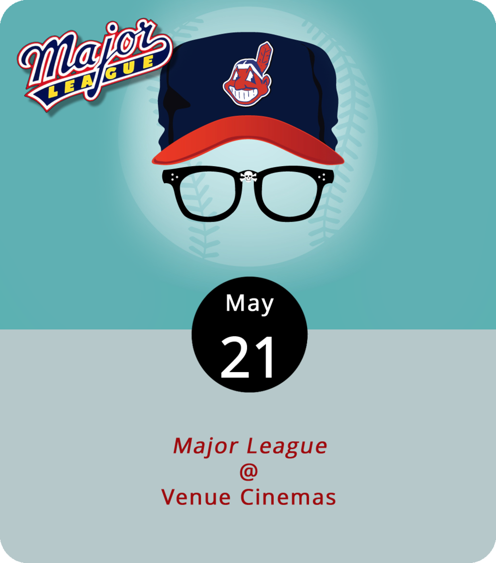 Don't pull a Bill Buckner and let this rare opportunity to catch  Major League  (1989) on the big screen hop by your glove or roll between your legs. That's Corbin Bernsen's job in the role of Roger Dorn in this comedy, which unfolds as the somewhat unhappy new owner of the Cleveland Indians wants to move the team to a warmer, more hospitable locale. So, she collects a band of misfits, has-beens, underachievers, and at least one criminal in hopes of losing enough games to be run out of town. See Charlie Sheen as Wild Thing Ricky Vaughn search for the strike zone, Wesley Snipes as Willie Mays Hayes literally steal home, and Tom Berenger as Jake Taylor squat behind home plate on his last legs. The film screens at Venue Cinemas (901 Lakeside Dr.) through Thursday. For more info, including showtimes, click  here  or call (434) 845-2398.