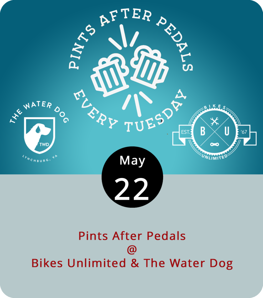 The cycling community has a well-known affinity for craft brews, or so we've been told. So it makes sense that right after pedaling each week they sit down for a round or two. Join in this evening as Pints After Pedals gets rolling at 6 p.m.  right outside Bikes Unlimited (1312 Jefferson St.), makes its way to the top of the Blackwater Creek Trail, and comes back down to land in town at the Water Dog (1016 Jefferson St.). The ride is a little over 6 miles and is a good way to get to know fellow cyclists. Click  here  for info and updates, or call (434) 385-4157.