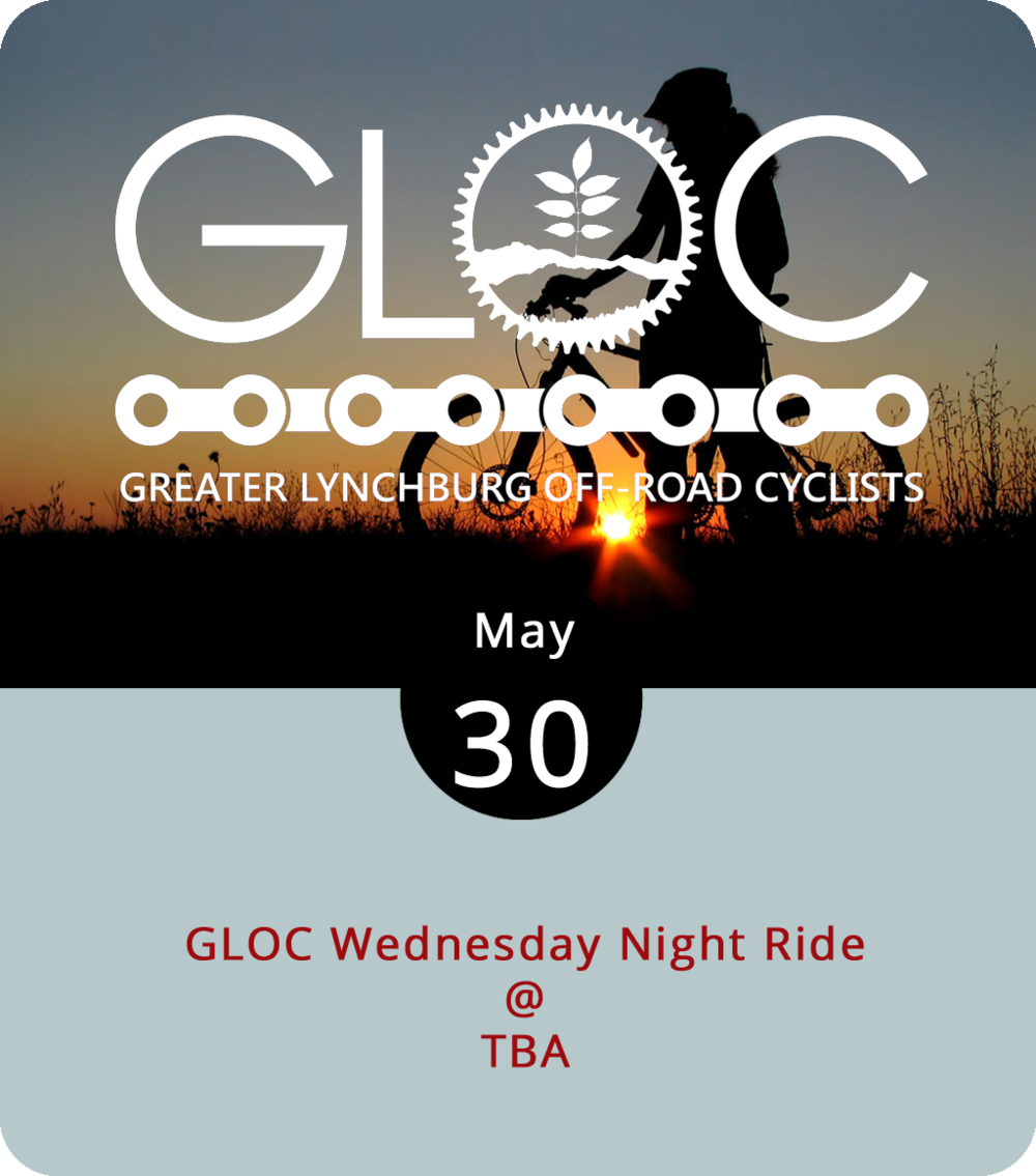 """A group bike ride can be intimidating for the uninitiated, which is one reason Greater Lynchburg Off-Road Cyclists, or GLOC, host """"no-drop"""" rides on Wednesdays in addition to their Monday evening Blackwater Creek Trail rides, their every-other-Thursday evening rides for women mountain bikers, and their once-a-month Friday Night Fajita rides on Candlers Mountain. """"No-drop"""" means the pace is set by the slowest rather than the fastest riders, so no one gets left behind. GLOC rotate this weekly ride among various local trails, from Candlers Mountain to Peaks View Park to the Blackwater Creek Trail. For updated info on where they'll be starting today's 6 p.m. ride, click  here . Waivers and helmets are required. Keep an eye out for GLOC's other weekly rides on their Facebook  page  and  website ."""