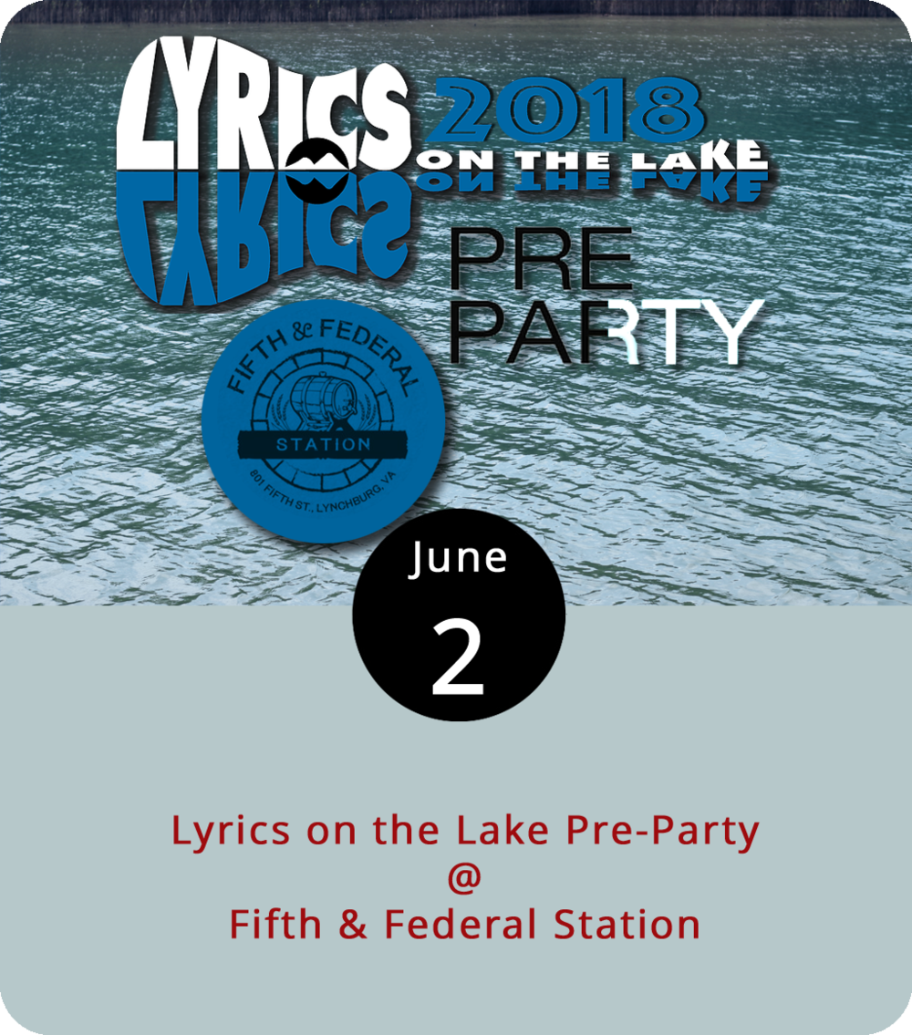 Lyrics on the Lake country music festival won't start for another couple weeks at Smith Mountain Lake, but tonight Fifth & Federal (801 5th St.) will host a warm up concert. The Pre-Party starts at 5 p.m. and features  Brinn Black , the festival's organizer and a Virginia native who moved to Nashville seeking a career in country music. She'll perform along with special guests who are thus far unannounced. For more info about tonight's event, click  here  or call (434) 386-8113. The Lyrics on the Lake Festival will be held June 13-17 and will feature more than 35 artists performing at more than 10 lake venues. For more info, click  here .