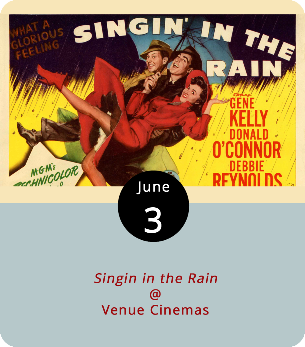 "It's been an unusually rainy few weeks, but that's not bringing down Venue Cinemas (901 Lakeside Dr.). The discount theatre, in fact, seems to be delighting in the wet weather. And to prove it, they're bringing back the 1952 musical  Singin' in the Rain , co-directed by Stanley Donen and Gene Kelly, who also plays the film's leading man Don Lockwood. The film depicts the transitional period in Hollywood when silent filmmakers brought sound to the cinema. In the midst of this transformation, the Hollywood it ""couple"" of Lockwood and Lina Lamont (Jean Hagen) fake a relationship to sell tickets while feuding on-set. The movie plays through Thursday. For showtimes and more info, click  here  or call (434) 845-2398."