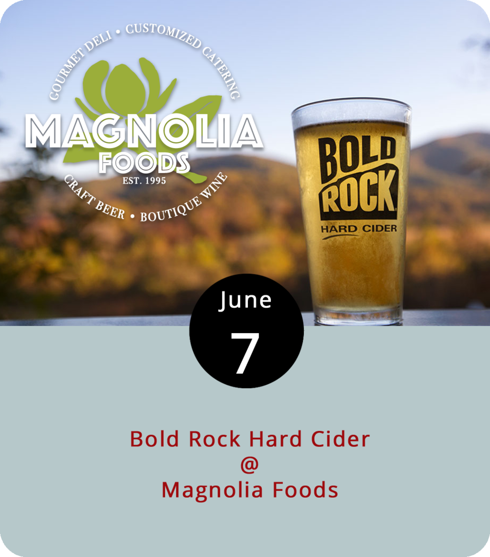Magnolia Foods (2476 Rivermont Ave.) is a quaint deli and coffee shop where you can always grab  mixed six packs and curated bottles of wine on your lunch break. Recently, the establishment has expanded its offerings to include beer and other libations on tap. Tonight, Magnolia presents its first ever pint night, featuring Bold Rock Hard Cider. The event runs from 5 until 9 p.m. and will feature the Nelson County cidery's Blackberry Summer Seasonal. For more info, click  here  or call (434) 528-5442.