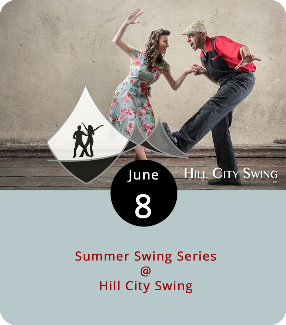 Summer is for swingers, as in swing dancers and Hill City Swing, which kicks off its summer series this evening. On the second and fourth Fridays of June and July, the Hill City swingers engage in East  and  West Coast styles of swing dancing, which means there's probably a difference between the two. There are classes for those who'd like to learn. From 7 to 8:30 p.m. it's a couples-only class for beginners, and from 8:30 to 10 p.m. they'll teach singles and couples who have some swinging experience. The pricing scheme is a little complicated so bear with us. A summer pass for the early session is $40 per person, although students get a $20 discount. A summer pass for the later session is $30 with students receiving a $10 discount. However, if you don't purchase a pass in advance, you'll have to tack on an extra $15 to pay at the door. The dancing takes place at Riverviews Artspace (901 Jefferson St.), home to Hill City Swing. Click  here  for tickets or call (540) 769-7192.