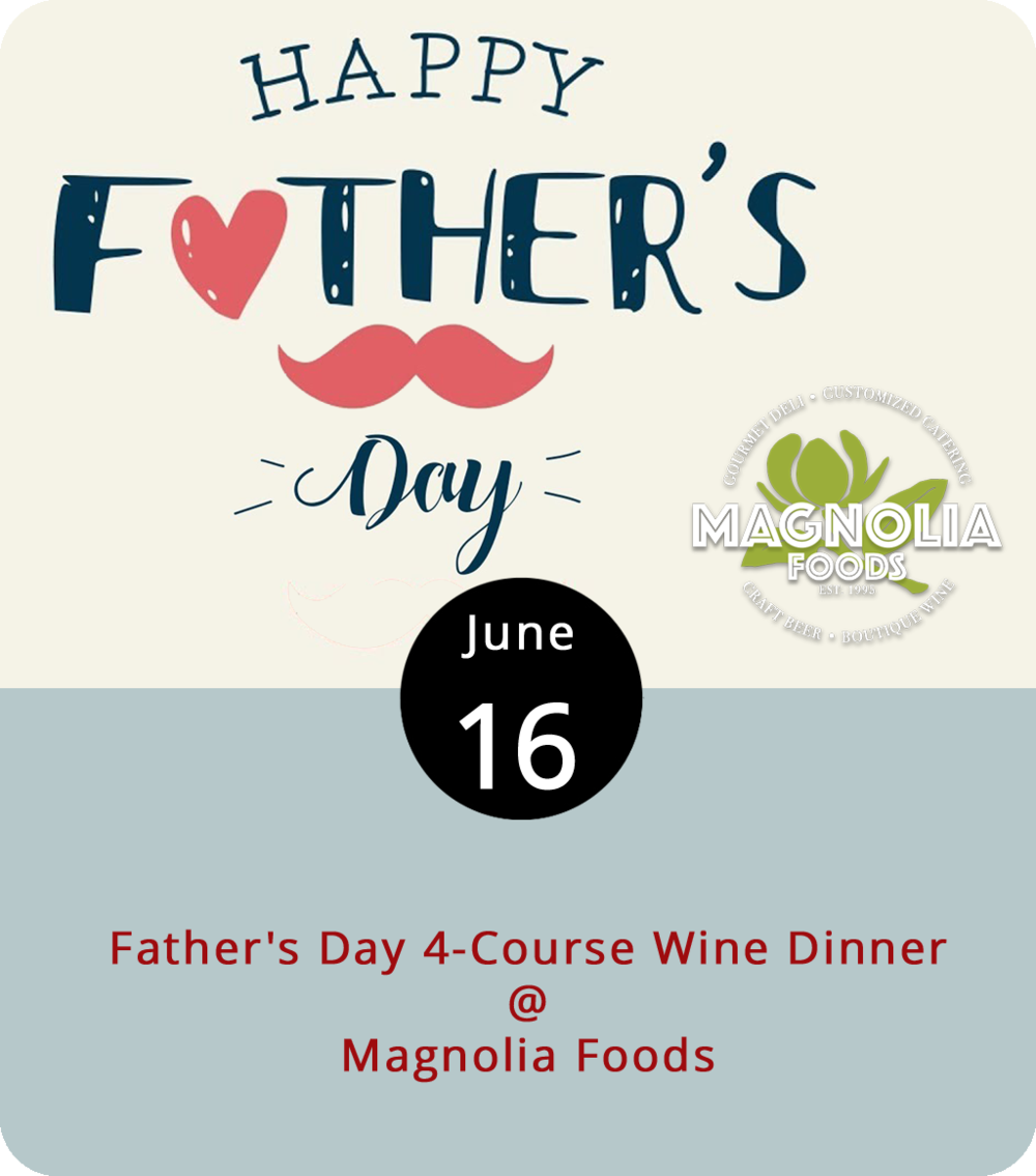 So, it looks like there are still a few tables that have not yet been reserved for the Father's Day eve wine dinner at Magnolia Foods (2476 Rivermont Ave.). The menu is set: a first course of crab and shrimp dip paired with a Pinot Gris; a secondi of fried green tomatoes stacked with pimento cheese paired with a Pinot Noir; a main course of beef tenderloin paired with a Napa Valley Merlot; and a chocolate and peanut butter mousse pie for desert with a glass of De Loach Zinfandel. Reservations can be made in groups of two, three, four, or six-plus, and it's $69 per person including tax and tip. Call (434) 528-5442 to make a reservation, and click  here  for more info.