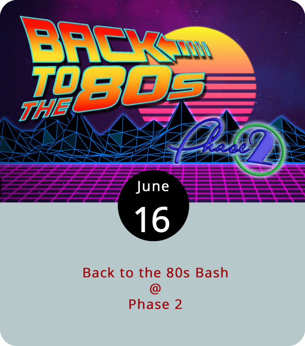 It wouldn't be a shocker to see a smoking DeLorean appear atop flaming tire tracks tonight at Phase 2 (4009 Murray Pl.). Actually, that would be a little shocking. But leg warmers and shoulder padded suit coats? Sure. Neon tights, skinny ties, and lots of hairspray? Definitely. The '80s tribute band Kids in America will be in the house and on the stage to mine the recent past for synth-pop hits and misses. Sponsored by Q99's Dick and Dave, the Back to the '80s Bash will feature prizes for the best-dressed concertgoer as well as a period dance competition. Tickets are $15. Doors open at 6 p.m. for the 7 p.m. show. For more info, click  here  or call (434) 846-3206.