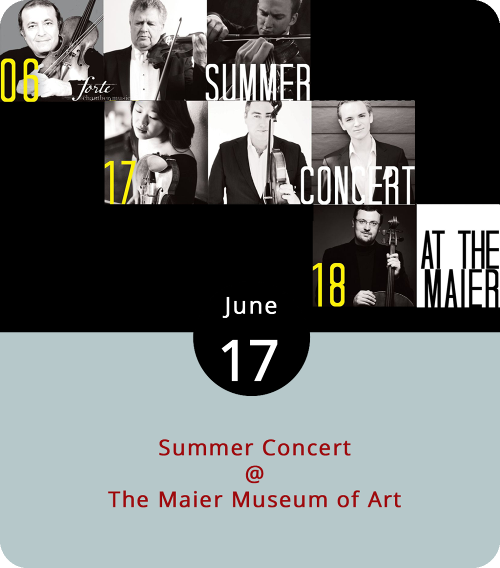 It's an afternoon of classical music composed by Mozart, Brahms, and Webern today as the Maier Museum of Art (1 Quinlan St.) hosts its Summer Concert. The performance features Shmuel Ashkenasi, David Ehrlich, and Jeffrey Dyrda on violins; Katharina Kang and Michael Klotz on violas; and Dmitry Kouzov and Coleman Itzkoff on cellos. Tickets are $25 for adults and $10 for students. The performance is from 4-5 p.m. For more info, click  here  or call (434) 947-8136.