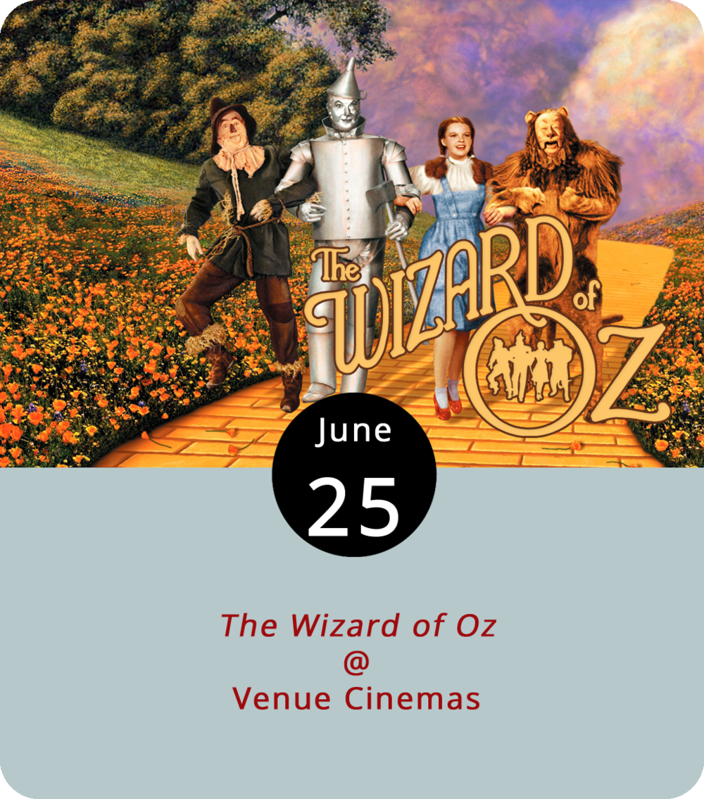 The Wizard of Oz  (1939) wasn't the first film to feature vibrant tones on the silver screen by way of technicolor, which was then an expensive and laborious process in the world of black-and-white cinema. But when a midwest tornado tears Dorothy (Judy Garland) away from her sepia-colored Kansas family and drops her into the bright world of Oz, the film industry and fantasy genre went along with her. When Dorothy and her dog Toto step out of their house — and over the wicked witch whom they just crushed — color and song and a whole lot of Munchkins greet her. And you know what happens: she and her newfound friends — a Scarecrow (Ray Bolger) in search of a brain, a Tin Man (Jack Haley) in search of a heart, and a Lion (Bert Lahr) in search of courage — take off down the yellow brick road to find the Wonderful Wizard of Oz in the Emerald City. The film, directed by Victor Fleming, is playing through Thursday at Venue Cinemas (901 Lakeside Dr.). For showtimes and more info, click  here  or call (434) 845-2398.