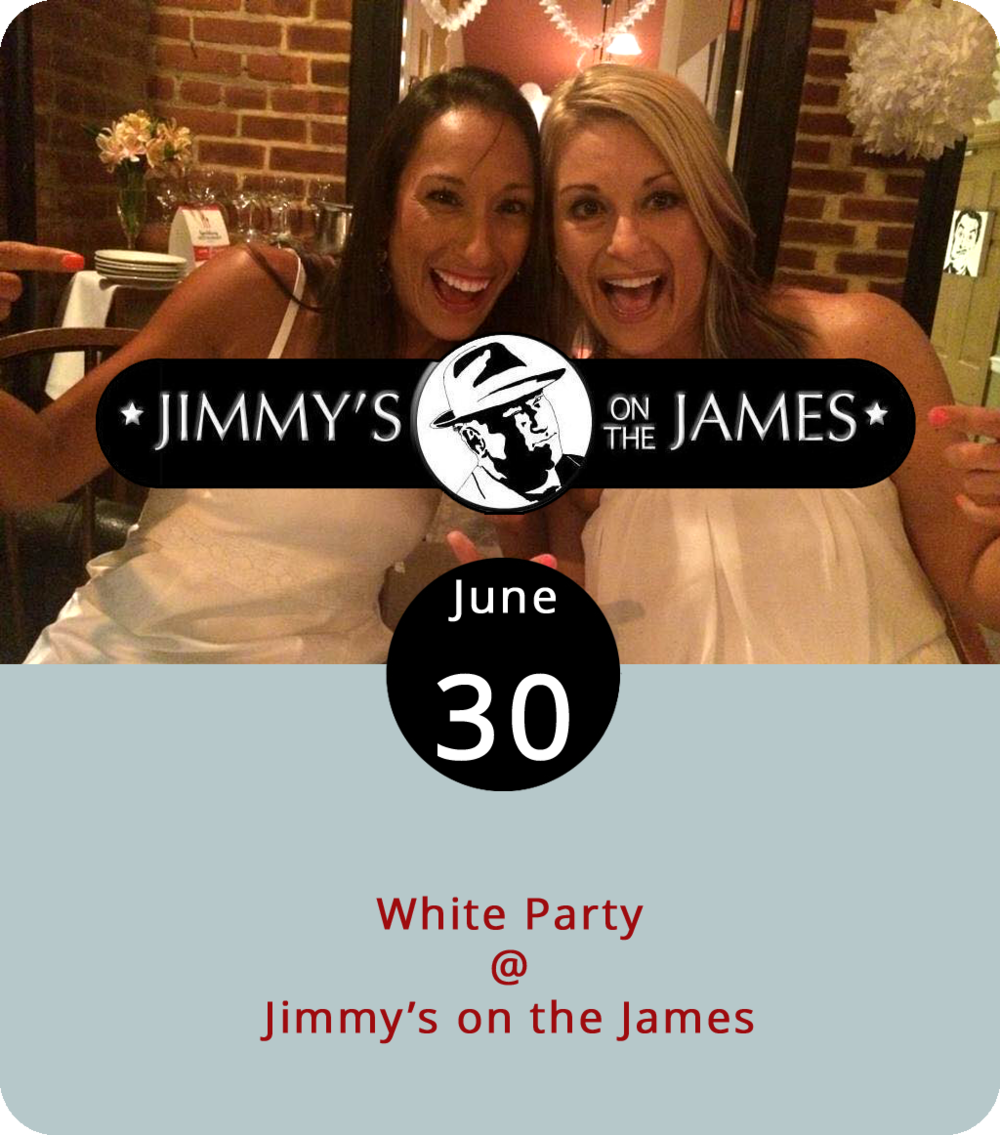 "Before jumping to any hasty conclusions about the name of this particular special event at Jimmy's on the James (610 Commerce St.), let's consider a few salient facts: 1) To the best of our knowledge, Jimmy's has no political party affiliation; 2) While physicists don't consider white to be a color per se, fashion designers and those of us who buy clothing do tend to think of it as a color choice; 3) In hot climates, white is often the garment color of choice among those who would like to stay cool; and 4) Wikipedia has an entry for ""white party"" that defines it as an event at which the ""standard clothing is all or almost all white."" So, white parties are a thing, and Jimmy's is holding its 7th annual white party this evening at 8 p.m. The band Solar Hearts are slated to perform, and the bartender Bobby Rygielski will only be serving white wine,  witbeir , and white Russians, brandy alexanders, and other white beverages. That last part is not true, although those might be some good drink choices. For more info, call (434) 845-1116 or click  here ."