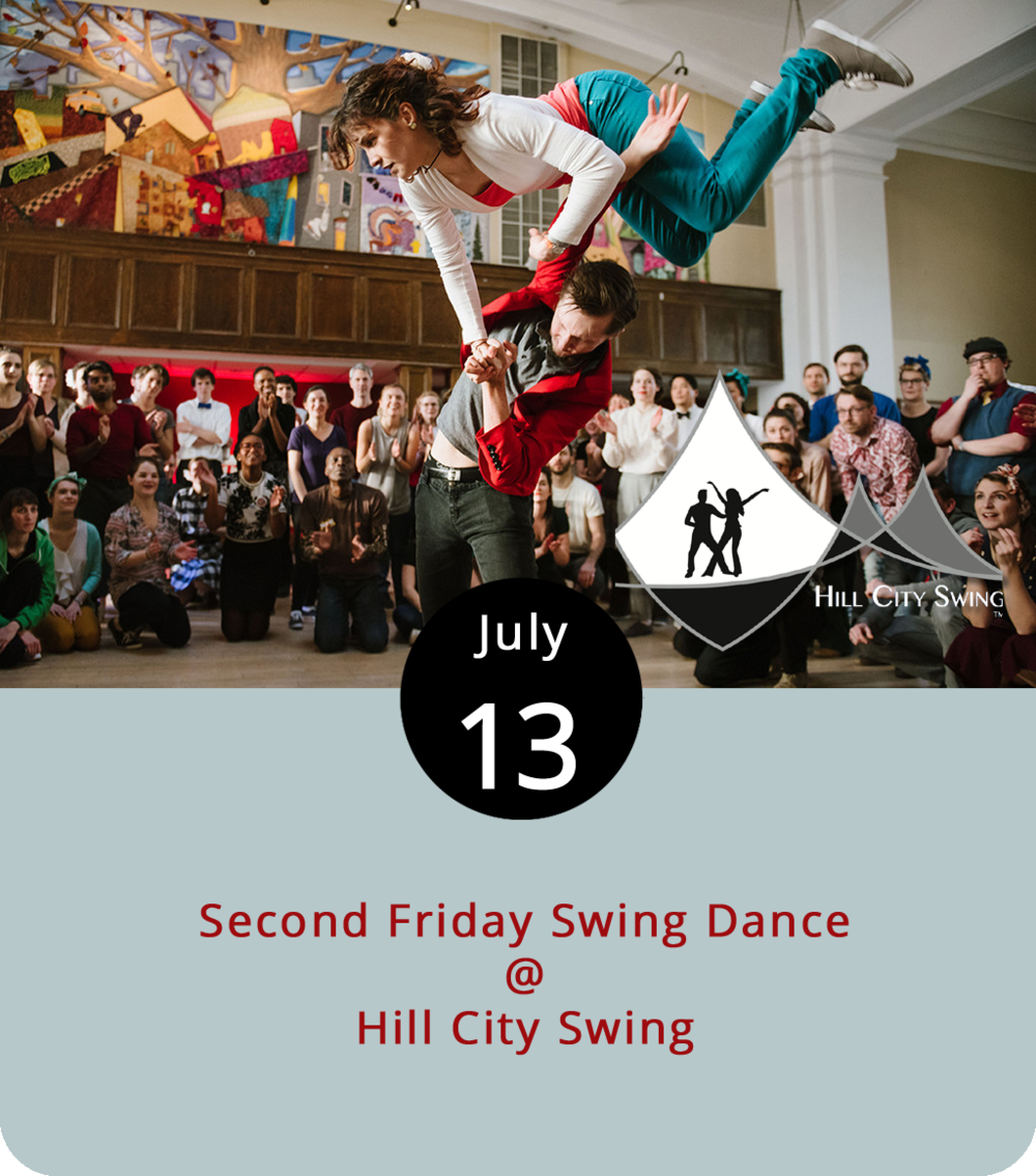 The Summer Swing Series continues tonight as Hill City Swing seeks to loosen up hips and hipsters alike. The night is broken down into three parts. The first, from 7 to 8:30 p.m., is for couples only and costs $30 per pairing. For info about the couples-only portion, click  here . Then comes the mixed singles lesson that couples are also welcome to attend for $10 per person. It runs from 8:30 until 9:30 p.m., and is followed by part 3, an open dance that goes until 10:45 p.m. Styles include East and West Coast swing as well as blues and Latin music. For more info, click  here or call (540) 769-7192.