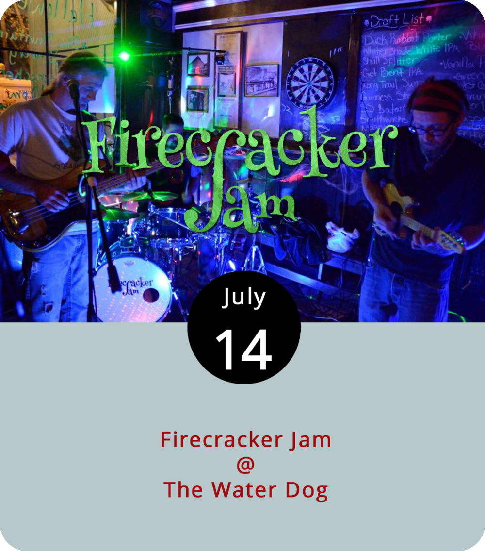 """With the Spin Doctors and Arrested Development performing this evening at Riverfront Park, why not start with a pre-party nearby at The Water Dog (1016 Jefferson St.). The bar/restaurant makes the most of its location right next to Lynchburg's premier outdoor concert space and usually books a solid local act to perform before downtown concerts. This afternoon from 4 to 6 p.m., they've got the appropriately jammy  Firecracker Jam , who call their style """"PsychoFunkGrass"""" and who will be playing later this summer at Lockin'. For more info, click  here or call (434) 333-4681."""