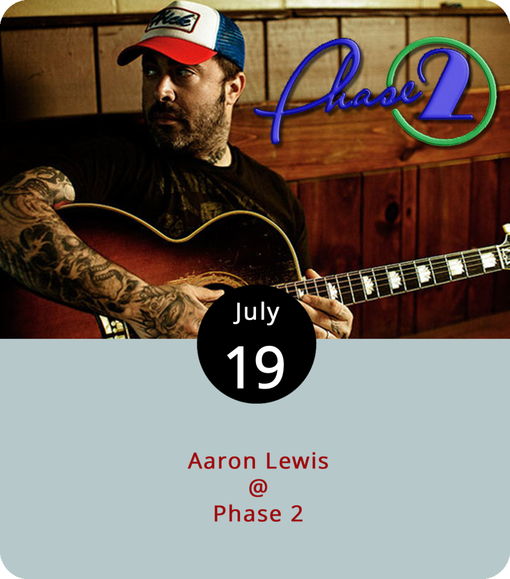 """Former alt-metal growler turned country singer Aaron Lewis appears to be poking a bit at some of his peers when he asks """"Whatever happened to the country songs full of truth and consequences, all the things gone wrong"""" in his newish (2016) single """" That Ain't Country ."""" Then again, he may just be referencing the 1977 David Allen Coe tune """"If That Ain't Country."""" Either way, Lewis, who released his second solo album  Sinner two years ago, is coming to town to spread his version of the rootsy gospel. He performs tonight at Phase 2 (4009 Murray Pl.) at 8 p.m. Doors open at 7 p.m. General admission tickets are $35. For more info, click  here or call (434) 846-3206."""