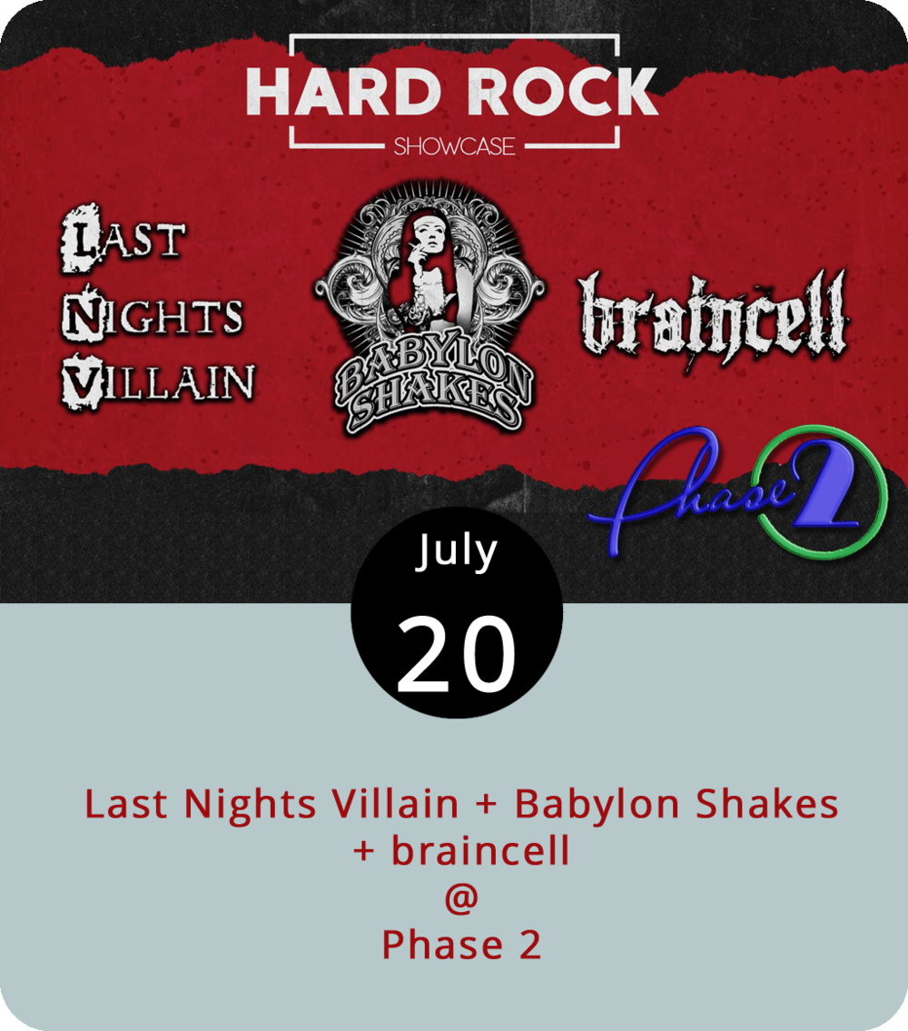 """It's sometimes hard to tell where hard rock ends and metal and punk begin, although it usually involves a hyphen and a """"core."""" We'll just call the Hard Rock Showcase tonight at Phase 2 (4009 Murray Pl.) a Lynch-core extravaganza. It features  Last Nights Villain , or LNV, a Lynchburg-area band who call their style """"heavy melodic rock."""" Openers include  Babylon Shakes , who prefer to refer their sounds as a mix of hard rock, glam, and sleaze, and  braincell , a metal band who we'll call lowercase-core. Doors open at 7 p.m., and the show starts at 8 p.m. General admission  tickets are $10. For more info, click  here or call (434) 846-3206."""