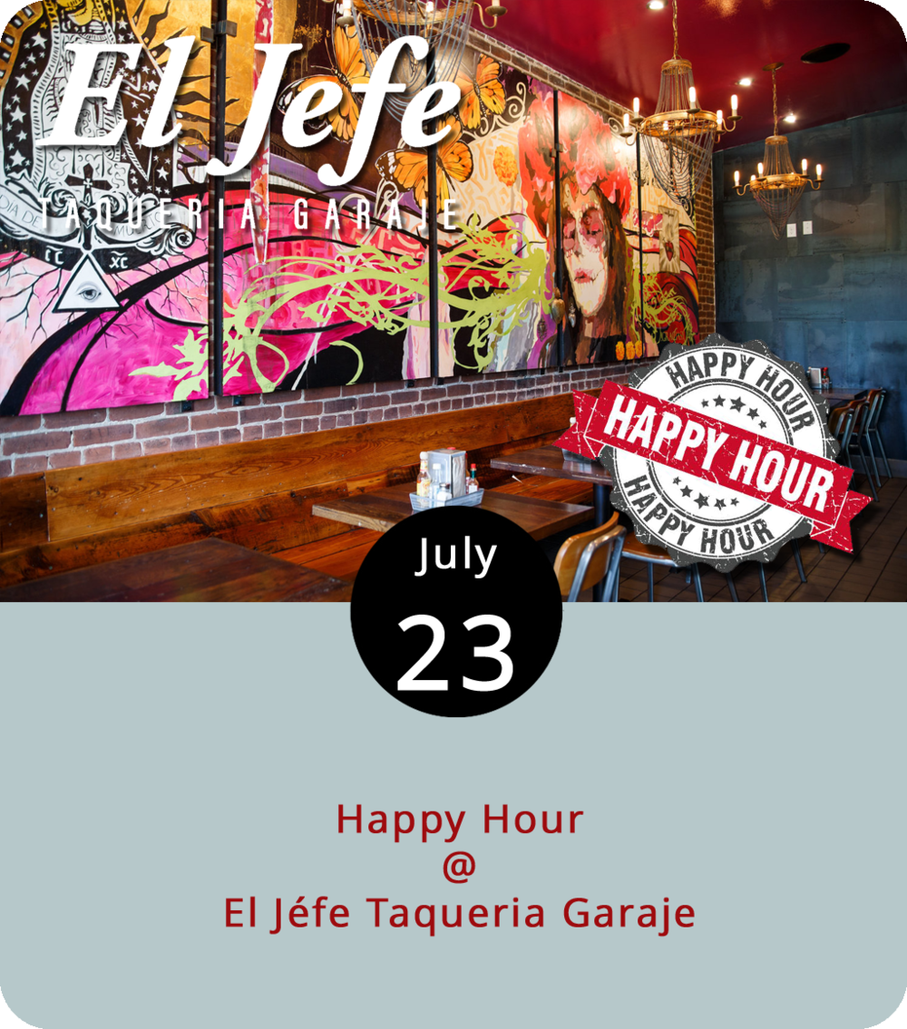 Tacos and tequila are two of life's simpler yet nuanced pleasures. El Jéfe' Taqueria Garaje (1214 Commerce St.) specializes in both, and they've usually got a witty quote about the taco lifestyle on the sidewalk chalkboard out front. It's a mid-July Monday, so we're going to recommend not cooking and checking out El Jéfe's version of happy hour instead. Buy two tacos, get one free. It's as simple as that and you can get that deal Mondays through Thursdays from 4 until 7 p.m. The El Jéfe house taco is loaded with shredded pork, topped with a healthy serving of fresh pico, and is best served in the traditional style on corn tortillas, although we won't fault you for going gringo with flour. Check out their full menu  here . For more info call (434) 333-4317.