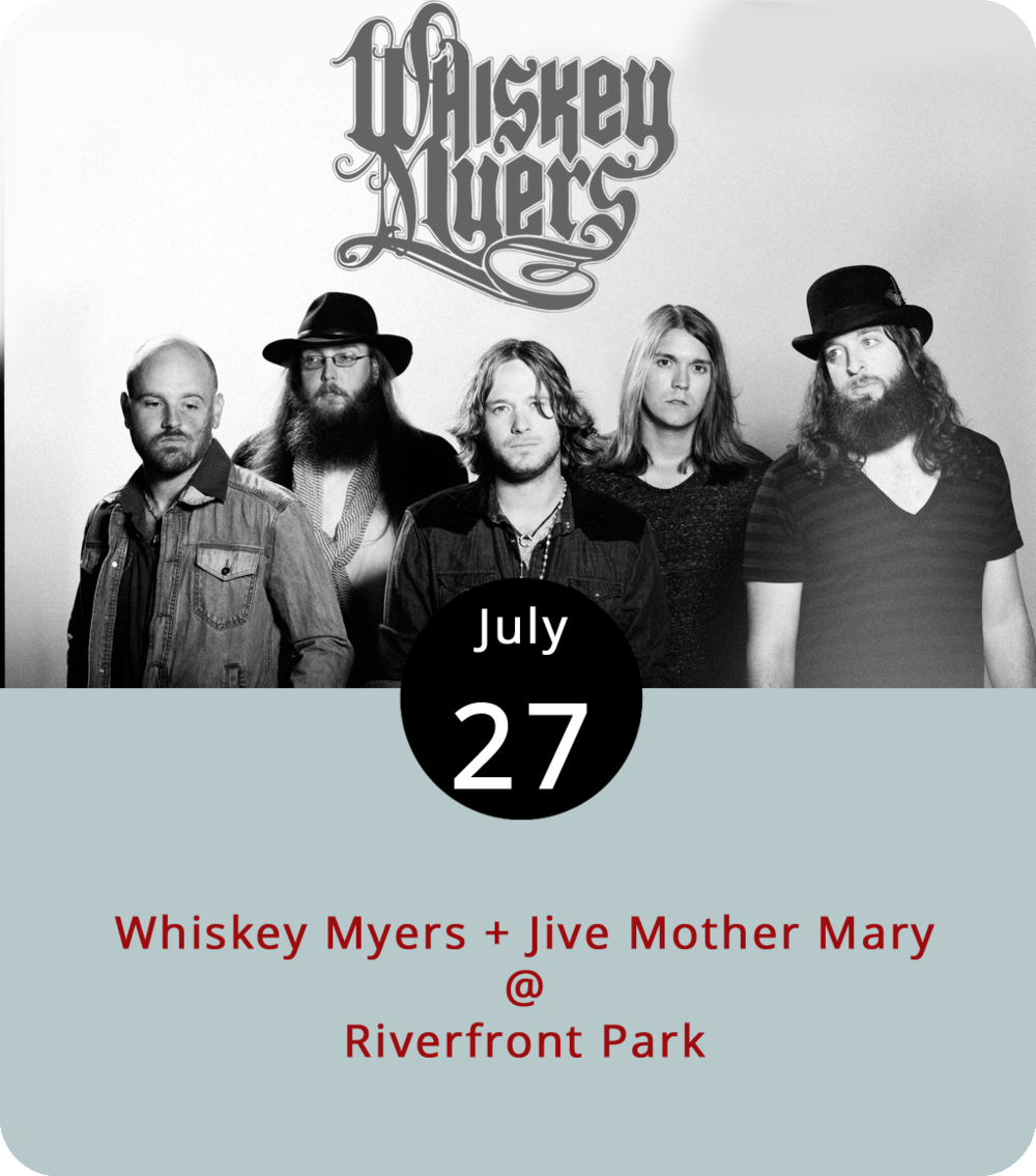 """Whiskey Myers is one of those evocative band names that could rest on a long backstory about a guy and jug of moonshine or be the result of a quick flash of inspiration. Seems like it was probably the latter for this Skynyrd-loving band from East Texas. The group made some national noise with the song """"Ballad of Southern Man"""" when they debuted in 2011, and they've been honing their southern fried, two-guitar attack ever since. Tonight they're the featured act for Cheers Lynchburg! at Riverfront Park (1100 Jefferson St.). Openers Jive Mother Mary go on shortly after the gates open at 6:30 p.m. Advance general admission  tickets are available for $10. For more info, click  here or call (434) 535-6190."""