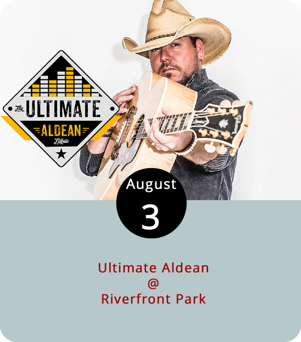 """The Ultimate Aldean like to tout themselves as """"The World's #1 Jason Aldean Experience,"""" but we're assuming they're not counting the actual Jason Aldean, who is very much alive and touring. Apparently, Ultimate Aldean frontman Greg West does bear some resemblance to the guy he impersonates and, after being mistaken for Aldean more than a few times in Nashville, he decided to go with it. We're going to weigh in and suggest that if West and the Ultimate Aldean are just the world's second best Jason Aldean experience that the crowd at tonight's Cheers Lynchburg! concert will be more than pleased. The show gets underway at Riverfront Park (1100 Jefferson St.) at 6:30 p.m. Advance general admission  tickets are available for $10. For more info, click  here or call (434) 535-6190."""