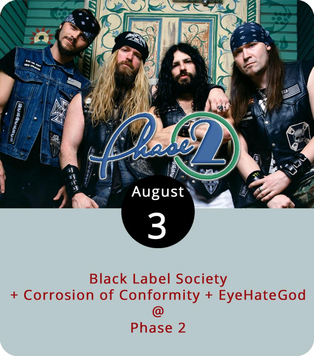 Since 1998, guitarist Zakk Wylde has fronted the heavy metal band Black Label Society with a big ol' beard, lots of black leather and blue denim, and some bad attitude. Of course, Wylde has had a few other irons in the fire over the past twenty years, including Zakk Sabbath, his Black Sabbath tribute band, and another band he plays in with some dude named Ozzy Osbourne. Early this year, Wylde released his tenth album with Black Label Society – Grimmest Hits – so he's on the road doing his best to promote it. He brings the band to Phase 2 (4009 Murray Pl.) this evening for a show with a couple of hard-hitting openers: North Carolina's Corrosion of Conformity and the New Orleans slude-metal band EyeHateGod. Doors open at 6:30 p.m., and the show begins at 7:30 p.m. General admission tickets are $35. For more info and ticketing, click  here or call (434) 846-3206.