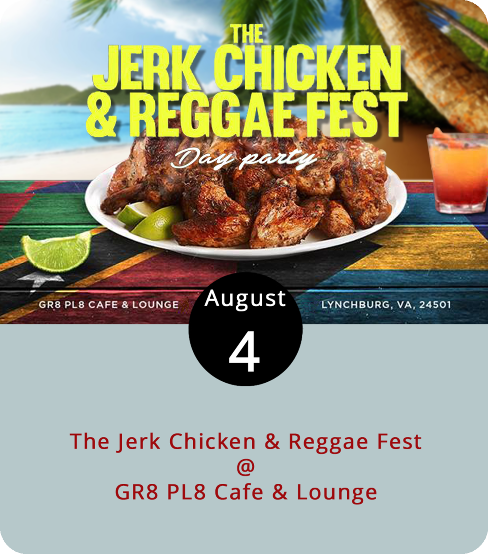 """The food will likely be spicy, but the music should cool things down as GR8 PL8 Cafe & Lounge (1415 Kemper St.) welcomes the Jerk Chicken & Reggae Fest, an event hosted by  Yagga Entertainment , an internet-based radio station out of Washington, D.C. Yagga touts """"Infotainment from an Afro-Caribbean perspective,"""" which means Jamaican culinary fare and Island-influenced grooves from DJ Selector Sledge, DJ Flow, DJ Randoo, DJ Mix Wizard, DJ Yagga, and DJ Mudduck from noon to 6 p.m. For an idea of the musical stylings check out  Ive Radio , a closer-to-home online radio station, and one of the event sponsors. Wristbands are $3 in advance or $5 at the door. If all goes well today, the Yagga folks will be back on September 8. For more info, click  here . To purchase wristbands in advance, text or call Selector Sledge at (434) 426-4047 or Rebel Army at (434) 270-5296."""
