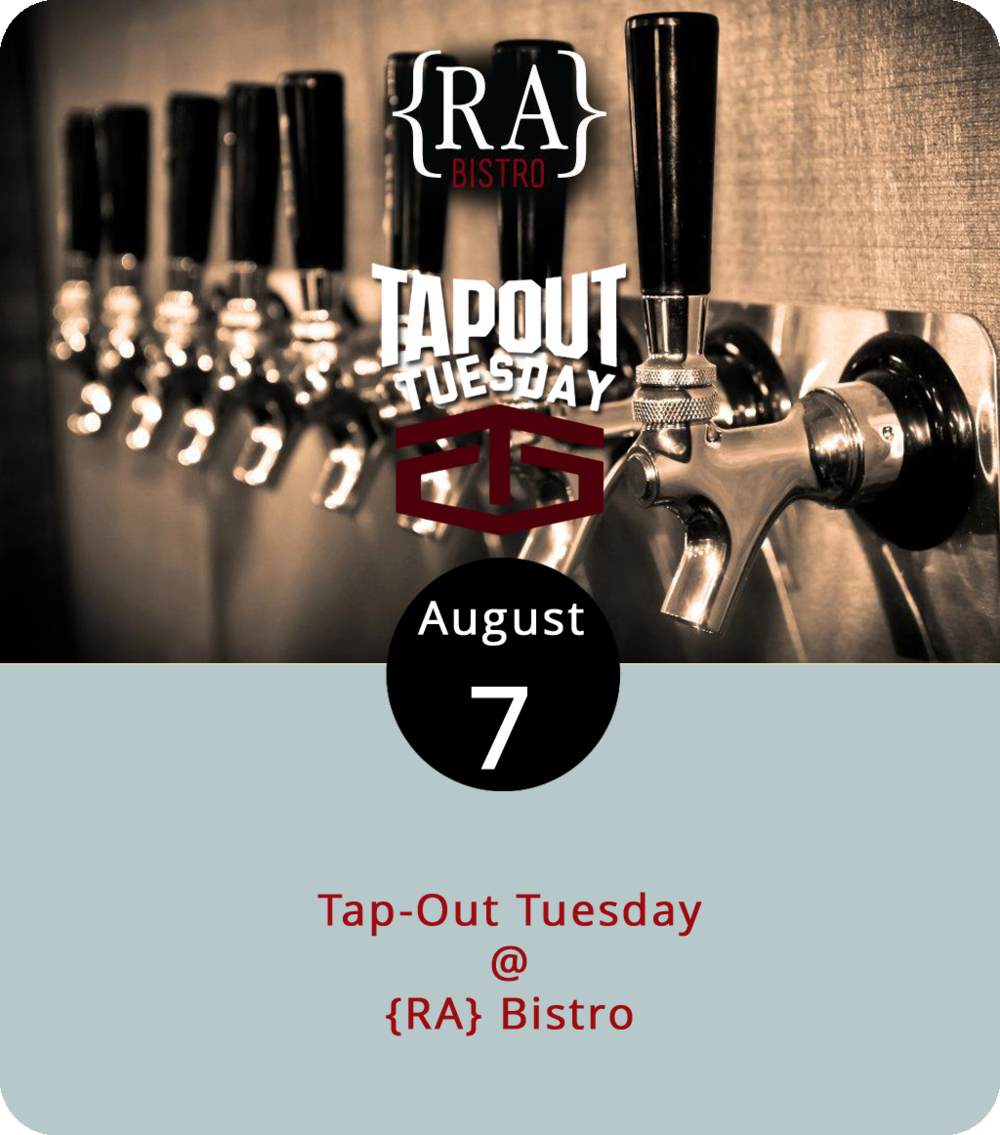 There's rarely a good time to switch kegs and it seems like kegs always tend to tap out at the worst times. Just ask a bartender. The folks at {RA} Bistro (1344 Main St.) have come up with a nifty solution to that problem. It's called Tap-Out Tuesdays and the premise is pretty simple: cut the price of a pint from the kegs that are getting low and plan on running them dry. Each week the specials differ, but the price for a pint is always $2. Think of it as an economical way to try a new IPA or two. The tap-out specials go through dinnertime until 9 p.m. You can check out the {RA} menu and daily specials  here . For more info call (434) 845-1601.