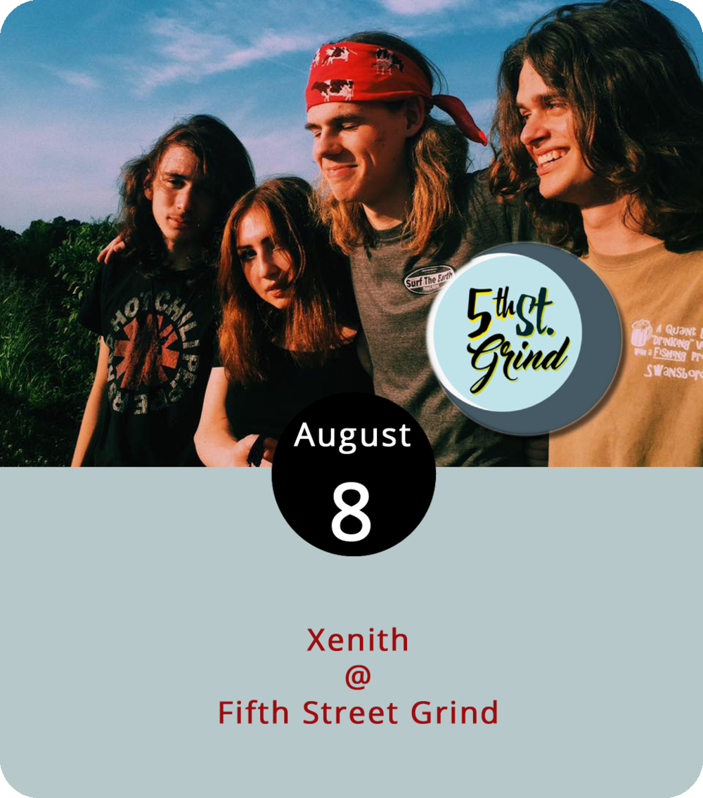 Fifth Street Grind (710 Fifth St.) now sits on the frontier of the construction that's closed down the street on the other side of the roundabout. And Fifth Street has become a new frontier in other ways: for great food, great drinks, and, perhaps this evening, a little great alternative rock. Fifth Street Grind will be slightly more caffeinated than usual as the local band  Xenith drop in for a couple of sets between 7 and 9 p.m. Check out the band's Spotify page  here . For more info, click  here or call (434) 386-8952.
