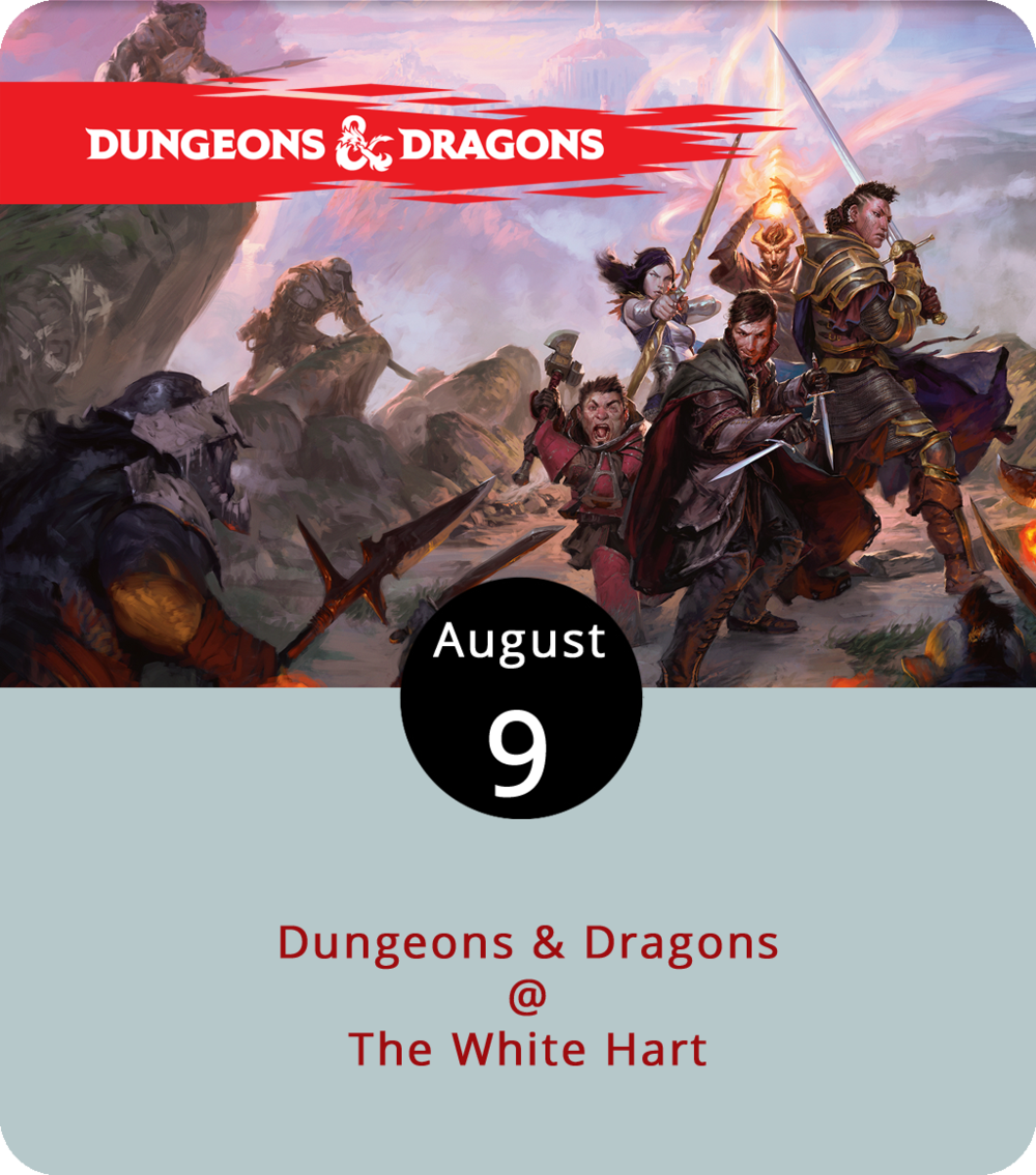 Legend has it that in a mythic but not so distant past, before  Fortnite , Minecraft , and  Roblox  made role playing as easy as touching a screen, role-playing gamers had to rely on ten-, 12-, and 20-sided dice to make their moves in the decidedly Tolkienesque realm of Dungeons & Dragons. The game has gone in and out of fashion, but it's never quite gone away, as is evident every Thursday evening at the White Hart (1208 Main St.). Dungeon masters and novice wizards, clerics and elvin creatures are all invited to play from 5-8 p.m. at several tables, including one for beginners. For more info, click  here or call (434) 207-5600.