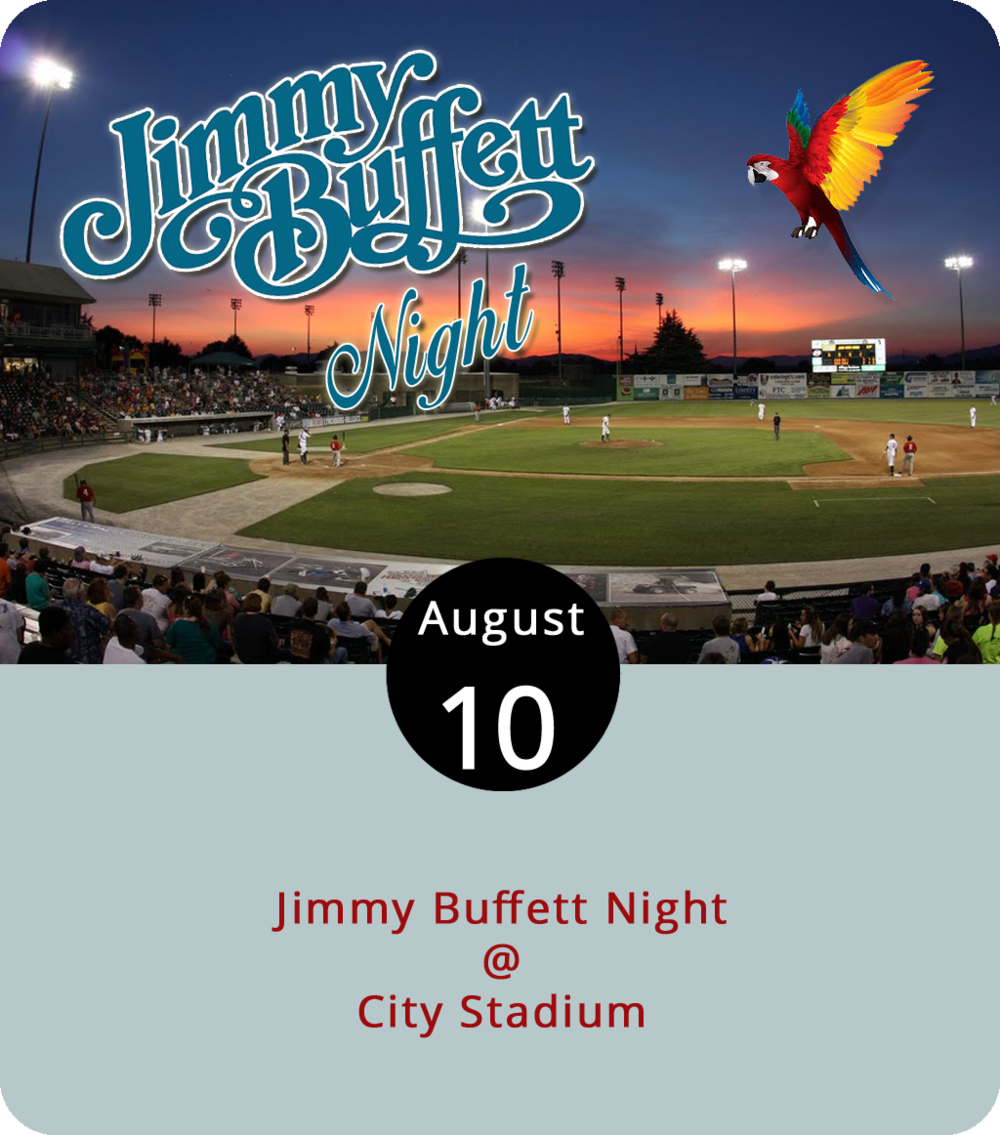 Expect fins to the left, and fins to the right this evening, as the Hillcats enjoy a metaphorical cheeseburger in paradise at Calvin Falwell Field (3180 Fort Ave.) on a designated Jimmy Buffet night. The Hillcats take on the Down East Wood Ducks at 6:30 p.m., but first there will be an hour or so of the good kind of Buffeting with Sandbar, a professional Jimmy Buffet tribute act. Music starts at 5 p.m. and the first 1,000 fans get a Hawaiian T-shirt. Tickets, which can be purchased  here , range from $7 to $13. For more info, click  here or call (434) 528-1144.