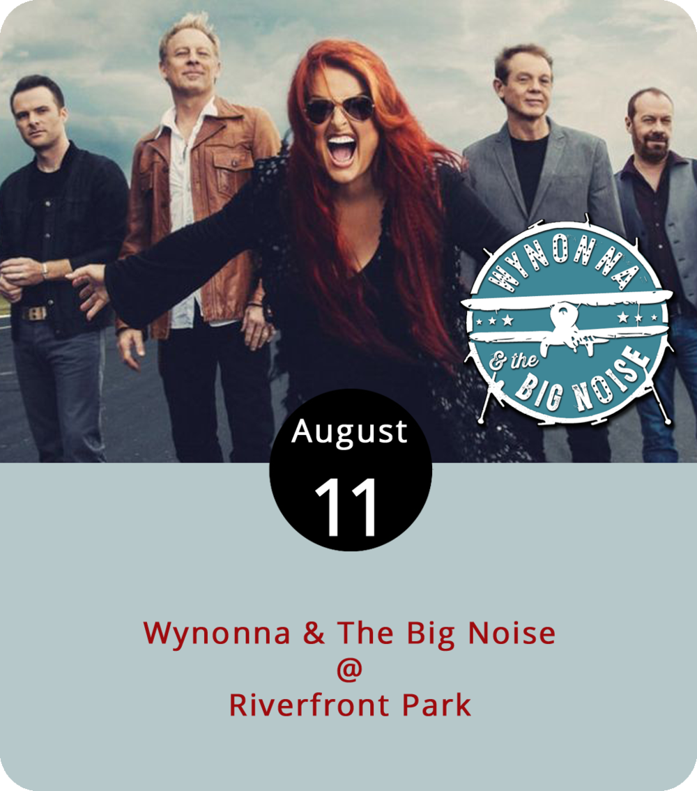 """Although the name of her current band is the Big Noise, Nashville veteran Wynonna Judd still performs her share of softer tunes. The group's self-titled debut features """" Things That I Lean On ,"""" a quiet acoustic number, as well as the noisier and bluesier """" You Make My Heart Beat Too Fast ."""" They'll be at Riverfront Park (1000 Jefferson St.) tonight for the Academy Center of the Arts' Riverfront Park Concert Series. Josh Wolfe, a newer Nashville singer-songwriter , is the opener. Doors open at 5 p.m. General admission tickets are $11. For more info and ticketing, click  here or call (434) 846-8499."""