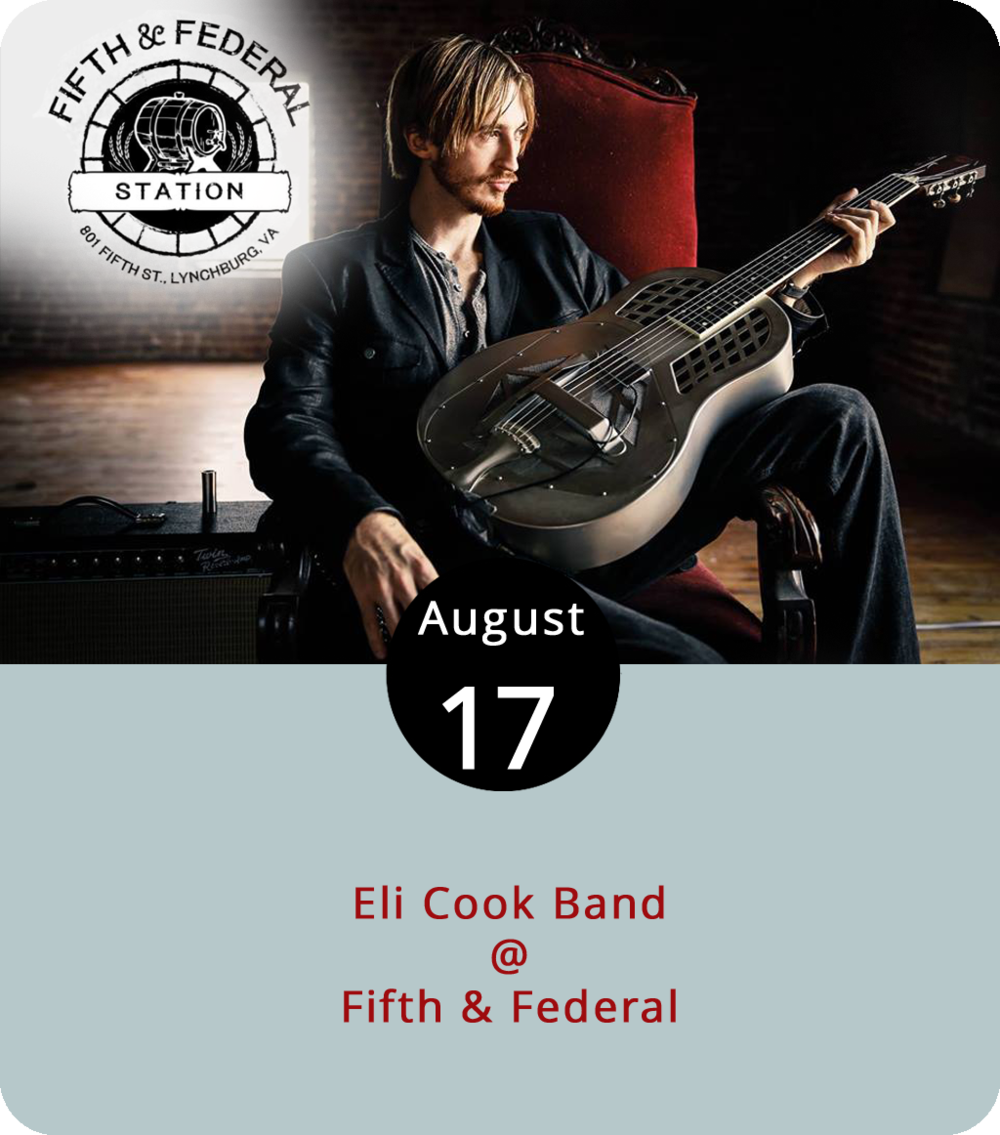 Born in nearby Nelson County, where he famously started playing gigs as a teenager at Rapunzel's Coffee House, Eli Cook has emerged as one of the more reliably excellent blues guitar players currently wielding a pick. That's high praise, but he's proven it time and time again, on stage and in the studio. His latest album is 2017's  High-Dollar Gospel , and he's gearing up for several area shows, including one this evening at Fifth & Federal (801 Fifth St.). He'll have a full band in tow when he takes the City Limits stage at 8 p.m. For more information, click  here or call (434) 386-8113.