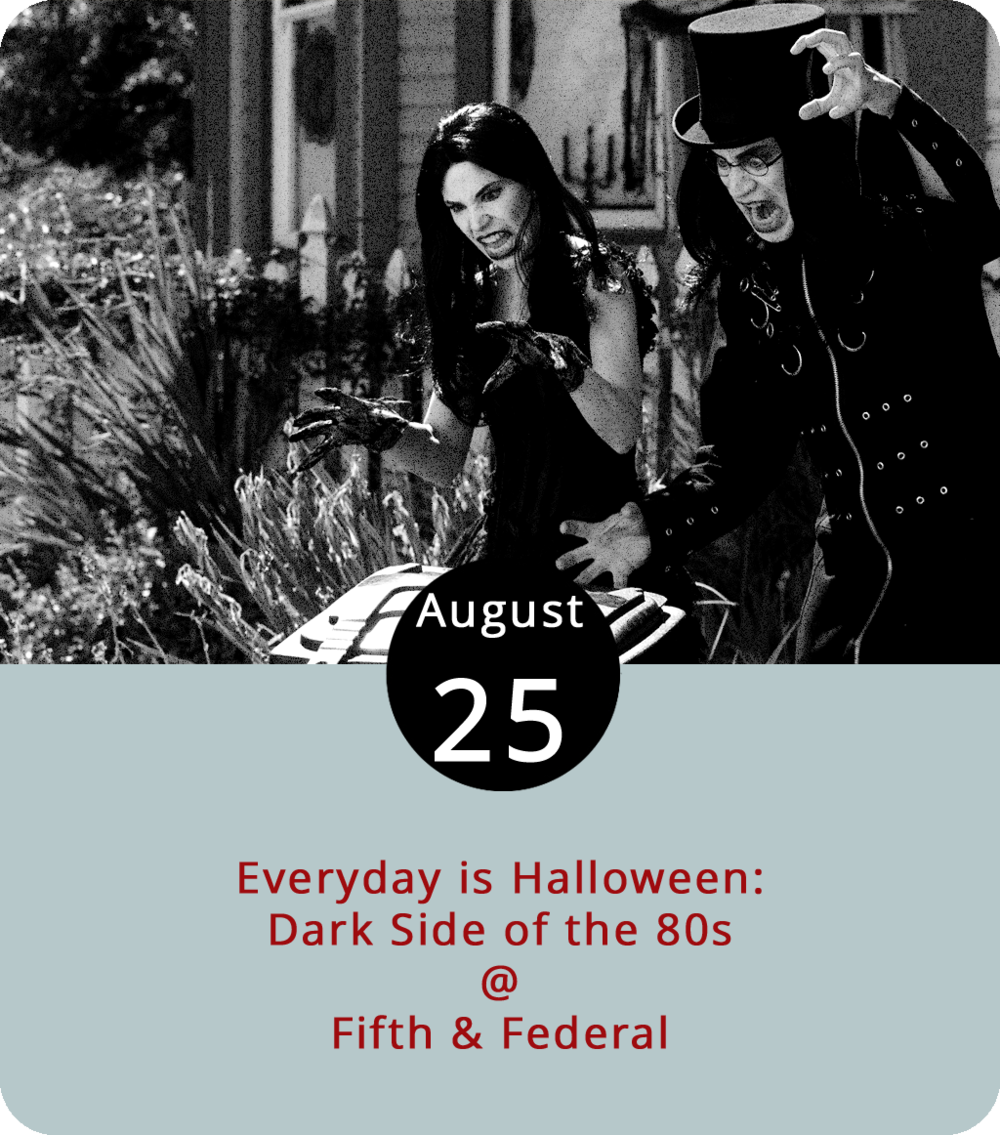 """All Hallows' Eve is always less than twelve months away. That's a mathematical fact. And this time of year, it's practically around the corner. But as far as the Lynchburg Gothic League is concerned, Halloween is as much a state of mind as it is a date on the calendar. They make that point every now and again by conjuring the darker spirits of Halloween at Fifth & Federal (801 Fifth St.) and summoning the sounds of '80s goth, dark-wave, punk, and synth-rock. This month's """"Everyday is Halloween: The Dark Side of the 80's"""" party features Lynchburg Tribal performing a """"selection of belly dances"""" and DJs Undertaker, Death Flower, and Thantos. It's free; click  here or call (434) 665-2204 for more info."""