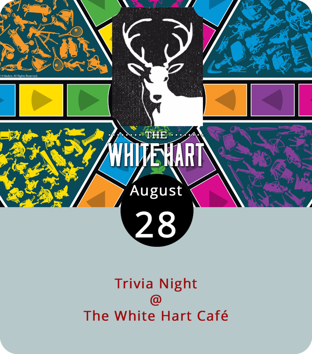 The White Hart Café (1208 Main St.) has been putting some effort into beefing up its evening entertainment regimen since the café changed hands a little while back. On Thursdays they've got a weekly Dungeons & Dragons night, every other Sunday afternoon they've been hosting a Lynchburg Rocks rock painting session, and now they've got a weekly Tuesday trivia night. Local smart guy Aaron Borsay hosts the competition this evening and is promising categories that include Grimms' fairytales, US wars, and controversial films. The brain games get underway at 7:30 p.m. For more info, click  here or call (434) 207-5600.