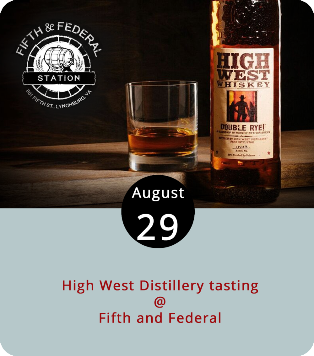 """There's rye bread, which is the perfect platform for a Reuben, and there's rye whiskey, which is typically drier than bourbon and an ideal base for a Manhattan, an Old Fashioned, or a Whiskey Sour. The craft distillers at Utah's High West Distillery make a double rye that they tout as the """"spiciest rye whiskey in the world,"""" as well as a straight rye that we're going to assume is slightly less spicy. The double rye will be in the spotlight this evening for the weekly Whiskey Wednesday tasting at Fifth and Federal (801 Fifth St.) starting at 6 p.m. The bar at Fifth and Federal stocks dozens of American whiskeys made with rye, corn, wheat, and barley, and has a  dinner menu that features burgers, barbecue, and artisanal bacon. Click  here or call (434) 386-8113 for more info."""