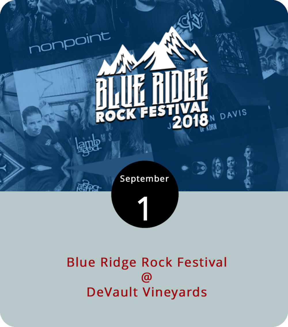 You gotta love a music festival that, in addition to a whole mess of bands, also has a wrestling line-up. Yep, that's what the Blue Ridge Rock Festival is bringing to Concord's DeVault Vineyards (247 Station Ln.) this long weekend. You've got your Lamb of God headlining the hard-rock and metal-palooza on the main stage this evening at 9 p.m., and a tonnage of other bands like Saliva, Puddle of Mudd, Fuel, Anti-Flag, and All that Remains playing throughout the Labor Day weekend, on two stages, from 11 a.m. until 11 p.m. today, tomorrow, and Monday. In addition, they will indeed have some professional wrestlers, including the Sandman, the Hurricane, and Tommy Dreamer, as well as tattoo artists, a Blue Ridge Burger Cook Off competition, camping, and plenty of other stuff. Tickets start at $35 in advance and $45 at the gates for one day; $55/$70 for two days; and $75/$90 for all three days. Click  here for tickets and info.