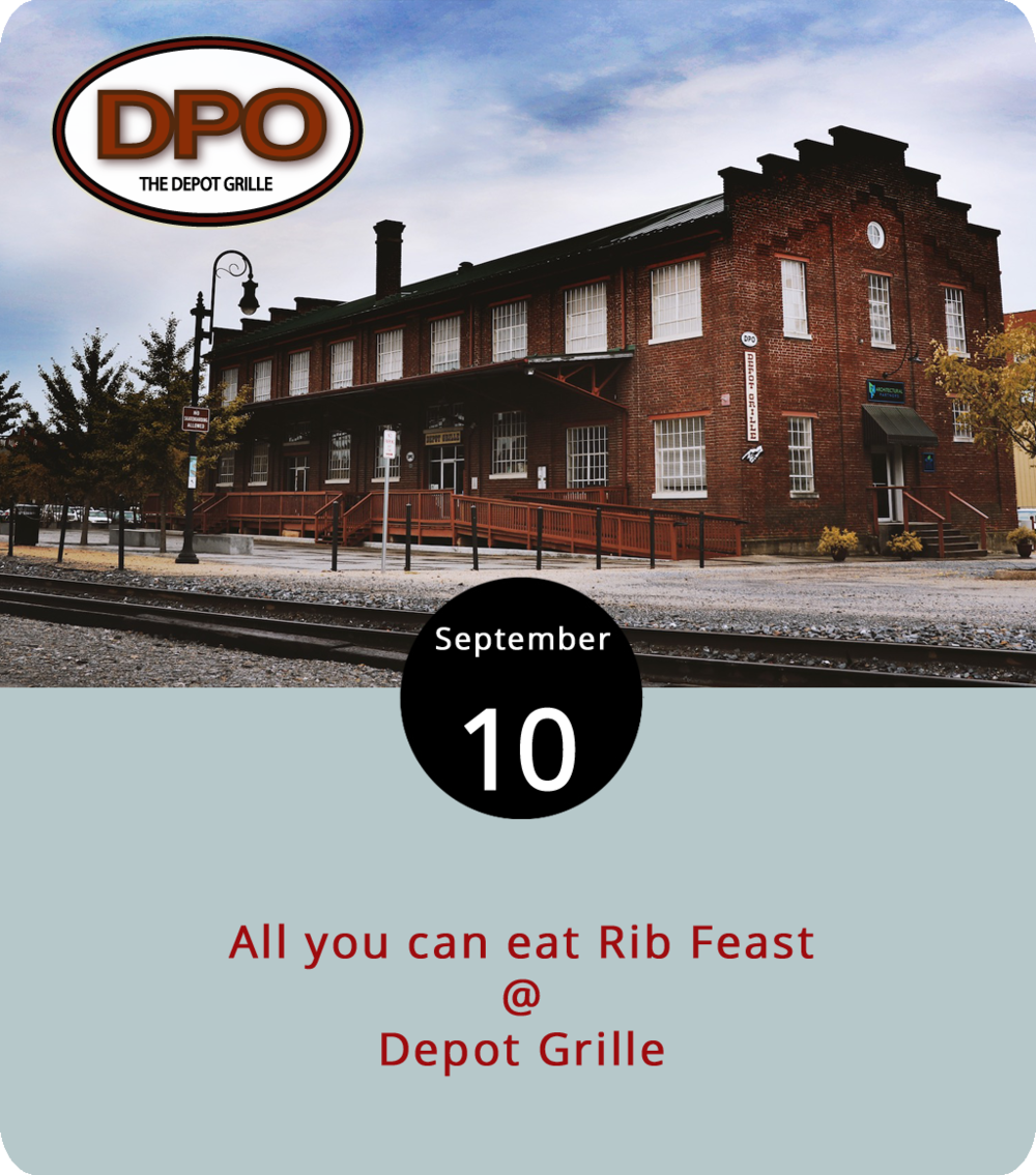 Mondays make us hungry, so we're glad to learn Depot Grille (10 9th St.) has a weekly special for all-you-can-eat ribs. That means from 5 p.m. to close, anyone who downs a plate of baby back ribs can order another slab for free. For $16.95 plus tax, the meal includes the ribs, two sides and a salad. FYI: the sides and salad don't appear to be all-you-can-eat. No sharing or takeout. The Depot Grille has stood for years down on Jefferson Street making the establishment a leader in the revitalization going on around Riverfront Park and just off the city's extensive bike/walking trail  system . To check out the rest of their daily specials, click  here    or call the Depot at (434) 846-4464 for more information.