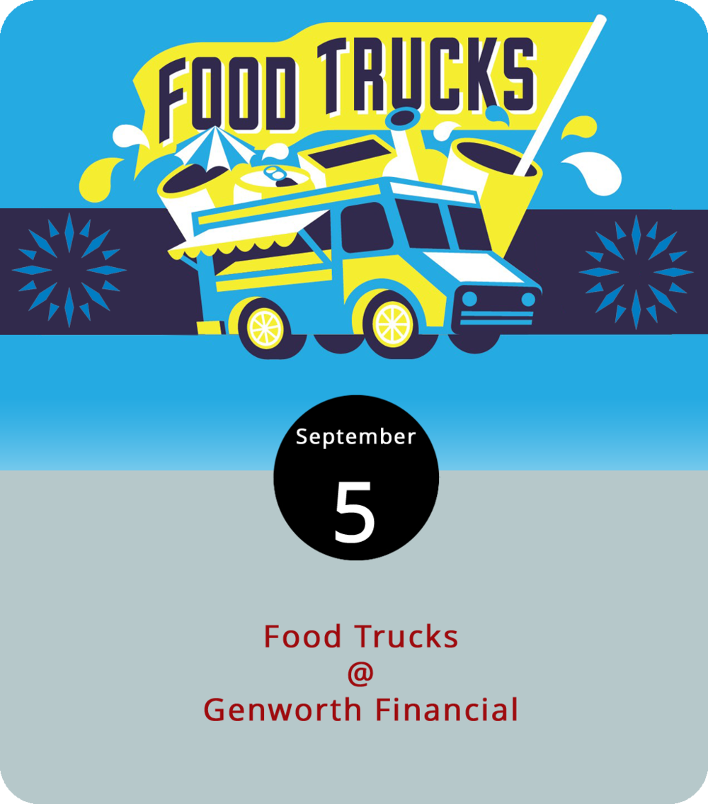Yes, it would probably feel a little odd to pull into someone else's parking lot, set up a picnic blanket, and go to town on some lunch. But it really is okay, even encouraged, when you see one or more food trucks serving up lunch. That's the plan from 11 a.m. to 2 p.m. today at Genworth Financial (3100 Albert Lankford Dr.), where you can also pick up some life insurance, long-term care insurance, and annuity retirement plans if that's on your bucket list. So far, we've got word that the Kissed Cupcake truck will be there, featuring cupcakes of the pumpkin spice, caramel apple, and bananas foster varieties. For updates and more info, click  here .