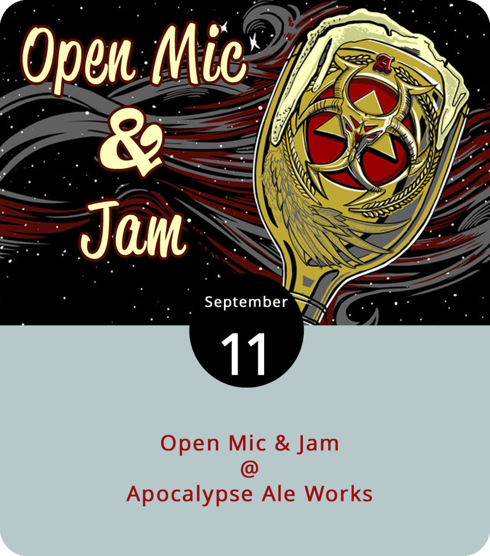 One of the newer weekly features at Forest's Apocalypse Ale Works (1257 Burnbridge Rd.) is a semi-regular Tuesday night open mic and jam hosted by our friend Henry Shafer. Things get up and running around 6 p.m. and go until 9 p.m. In addition to the multiple ales on tap at Apocalypse, you can usually grab dinner from one of the several food trucks that frequent the parking lot. For more info on Apocalypse, click  here  or call (434) 258-8761.