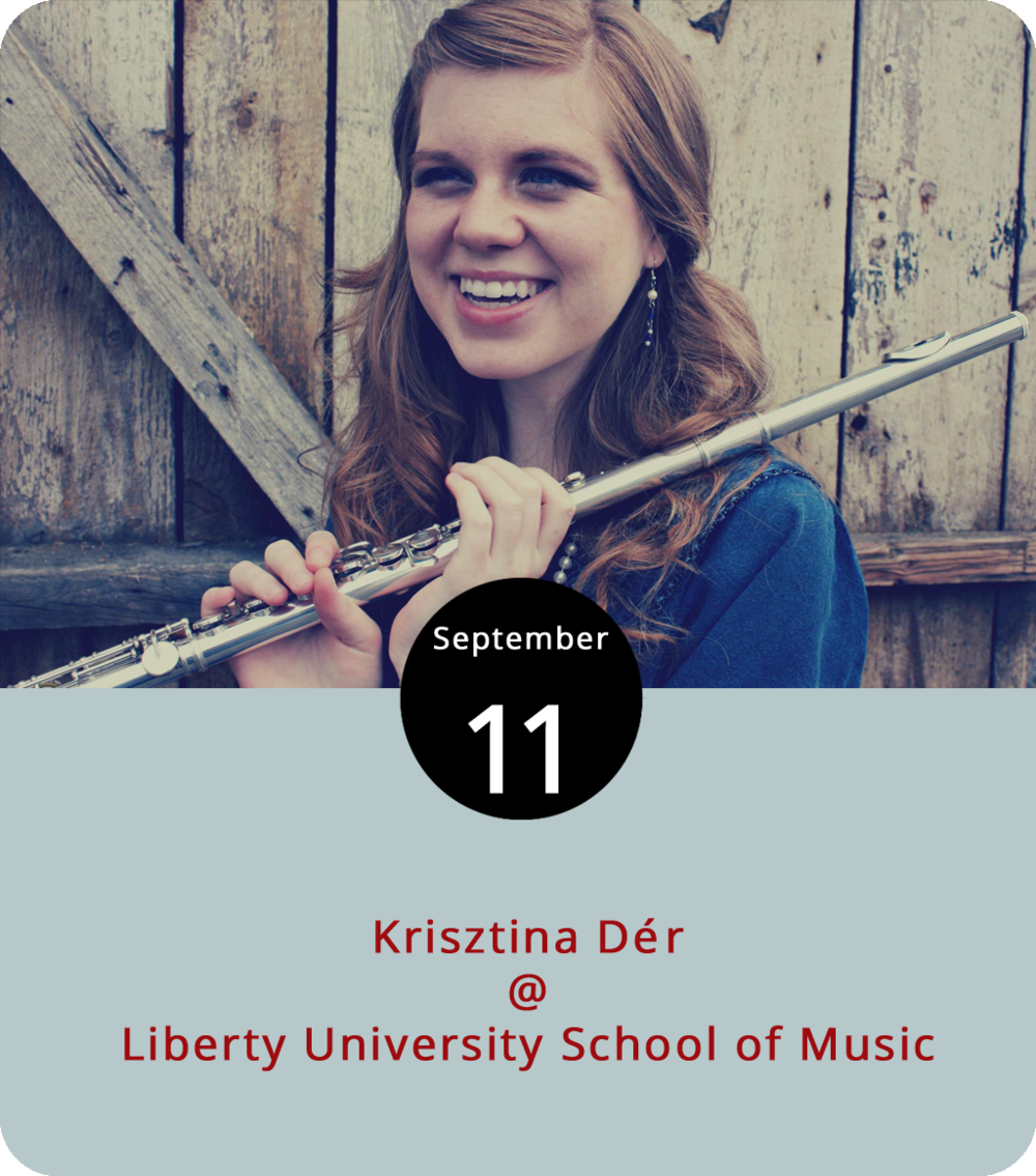 We don't often have the opportunity to recommend musical events of the classical variety, but this one seems a little different. Krisztina Dér is a young but accomplished flute phenom from the Greensboro-area of North Carolina. She is a lecturer in music at Guilford College, the second flutist in the Fayetteville Symphony Orchestra, and the most recent winner of the Raleigh Area Flute Association competition. A graduate from the doctoral program in music at UNC Greensboro, Dr. Dér specializes in creating intermedia pieces that integrate lighting art and flute music. She comes to Lynchburg this evening to perform a program featuring works by Anna Meadors, Kyle Rowan, Jacob Thiede, and Nick Rich at Liberty's School of Music (1971 University Blvd.) at 7:30 p.m. Presumably, it will also feature a light show. For tickets call (434) 582-SEAT, or click  here  for more info.