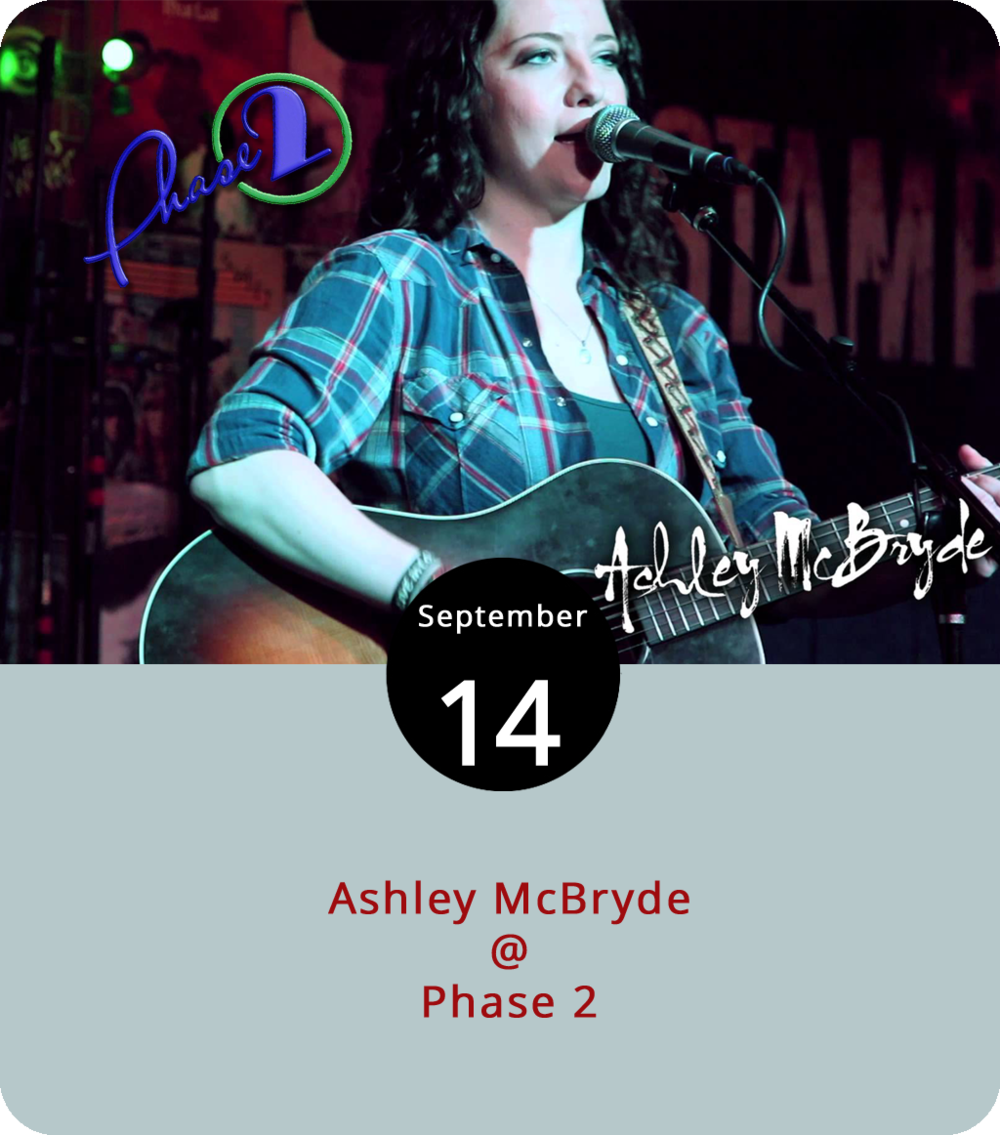 "Back in March, Arkansas-bred country singer Ashley McBryde released  Girl Going Nowhere , her highly touted debut album for Warner Bros. Now she's going somewhere, thanks to ""A Little Dive Bar in Dahlonega,"" a resolute and reflective single about ""makin' the best of the worst day kinda night."" And she's coming to Lynchburg as part of a long Going Nowhere tour that stops at the Washington County Fairgrounds in Abingdon, VA on Wednesday, the Hamilton in DC on Thursday, and our own Phase 2 (4009 Murray Pl.) this evening, It's an 8 p.m. all-ages show with doors at 7 p.m. and early entry at 6 p.m. for those with $40 VIP tickets, which include a meet and greet for those who are members of the  McBryde Trybe . General admission tickets are $15 and can be purchased  here . For more info on Phase 2 events, click  here  or call (434) 846-3206."
