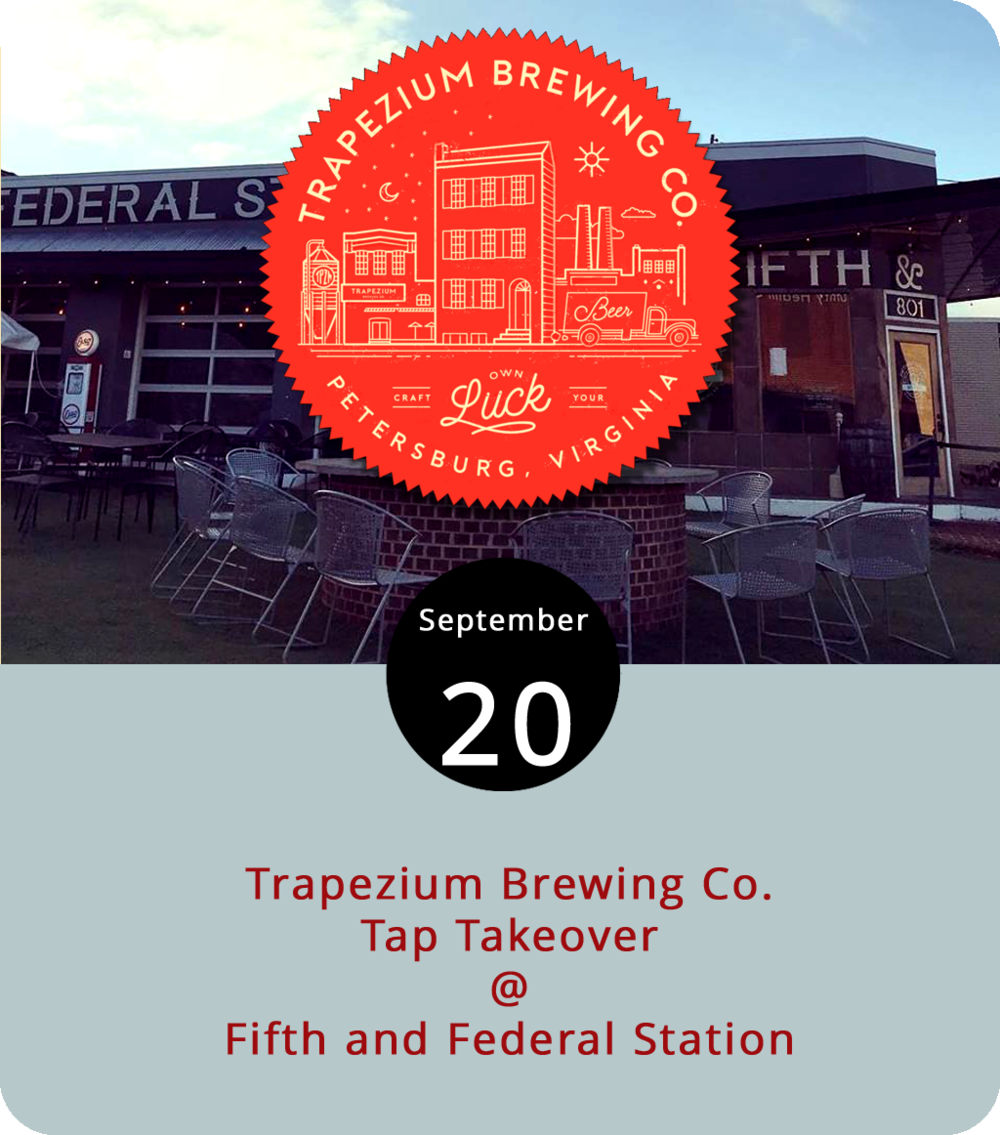 Trapezium Brewing Co. have what we hear is a pretty nice taproom and production facility in an historic building known as the Trapezium House because it has no right angles. Sadly, that building is located in the city of Petersburg, which is roughly a two-hour drive from Lynchburg. But you don't have to travel far to sample Trapezium's brews this evening. The fine folks at Fifth and Federal Station (801 Fifth St.) will be featuring Trapezium's Salted Caramel Brown Ale, Lucky 47 Belgium White, and Lemon Honey Ginger Pale Ale at a tap takeover that starts at 7 p.m. Click  here  for more info or call (434) 386-8113. For a look at the Fifth and Federal menu, click  here .