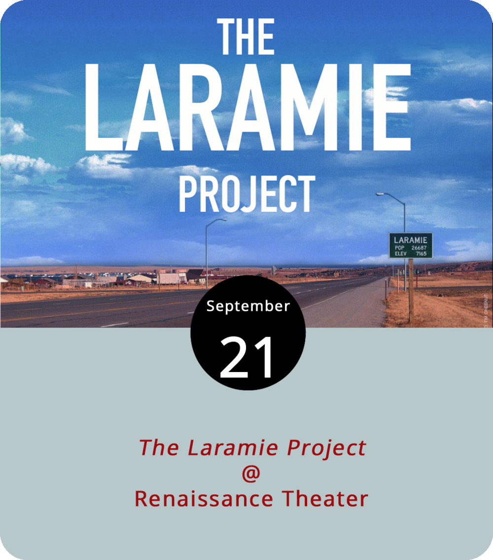 For many, 1998 seems like another lifetime; for others, it was before life began. But for University of Wyoming student Matthew Shepard, it was when life ended. His brutal and shocking murder attracted national attention and put hate-crime legislation on the national agenda. Twelve years later,  The Laramie Project , a play based on hundreds of interviews with Laramie residents and those who knew Shepard had its debut in Colorado before travelling to NYC's Union Square Theatre and being adapted for a 2002 HBO film of the same title. Renaissance Theater (1022 Commerce Street, Suite A) presents its production of this provocative and enthralling exploration of how a small-town tragedy shook the nation's conscience this weekend and next. The performances start at 8 p.m. tonight and tomorrow night and at 3 p.m. on Sunday. Tickets are $15-18. For more info, call (434) 845-4427 or click  here .