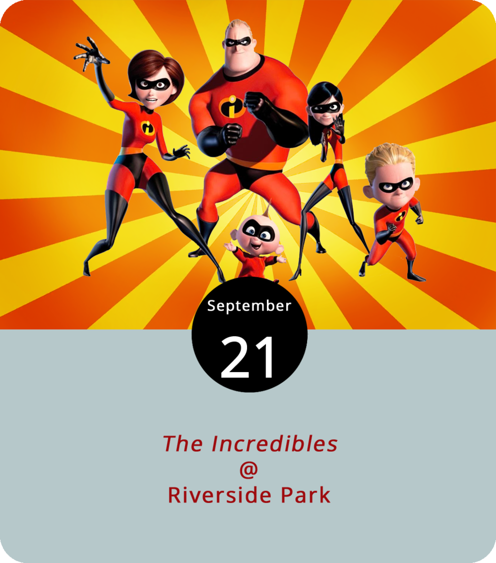 To see or not to see the new  Incredibles 2  at  Venue Cinemas  (901 Lakeside Dr.) if you haven't already seen the first  Incredibles  movie… That is a question. And, we've got an answer: see them both. Lynchburg Parks & Rec present the last of this summer's Movies in the Park this evening at Riverside Park (2238 Rivermont Ave.). The Pixar computer animated superhero family led by Mr. Incredible will hit the screen at sometime after 7:15 p.m. Prior to that, there will be food trucks, including Upper Crust Pizza, Hibachi Guys, Action Gyro, Chill City Pops, and Clarkboys Kettlecorn. It's free and it's a BYOCB event. In other words, bring your own chair and/or blanket. Click  here  or call (434) 455-5858 for info.