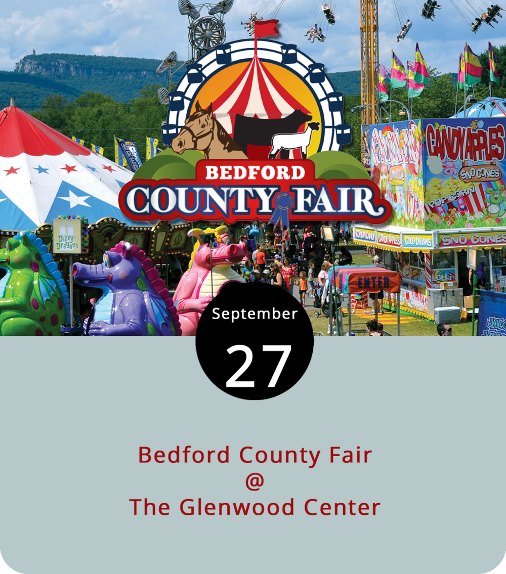 If it's never been said that fall is the fairest of all seasons, well, let it be said now. Last week fall officially arrived. And, as of 4 p.m. today, the Bedford County Fairgrounds at the Glenwood Center (2074 Smith Mountain Lake Pkwy.) will officially open. This is a real county fair. It features livestock shows; blue-ribbon competitions in areas such as canning, gardening, and baking; equine displays; cooking demonstrations; and an antique car show. New to the Fair this year will be a demolition derby and a three-ring circus. The Fair will be open from 4 to 10 p.m. today, 10 a.m. to 10 p.m. tomorrow and Saturday, and 11 a.m. to 6 p.m. on Sunday. A complete schedule is available  here . For more information, click  here , or call (434) 322-FAIR.