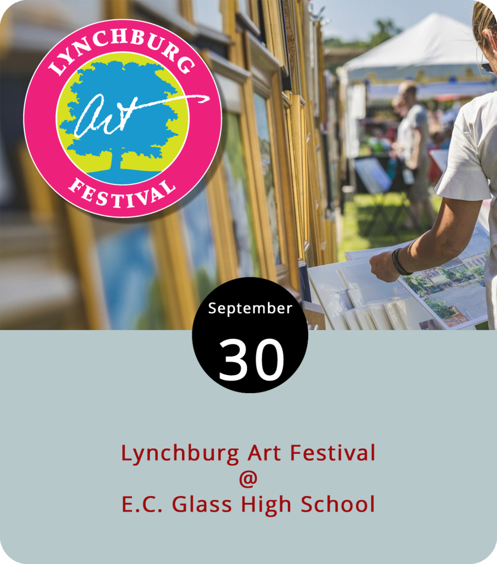 Back when Hurricane Florence was breathing down the metaphorical neck of Central Virginia, the Lynchburg Art Club wisely decided to postpone their annual outdoor exhibition at E.C. Glass High School (2111 Memorial Drive). Today, weather permitting, they'll make another go of it from 10 a.m. to 4 p.m. The 46th annual Lynchburg Art Festival will feature 150 regional artists displaying and selling their work, including paintings, sculptures, drawings, graphic and mixed-media works, and photography, but no crafts. That's right: no crafts. Awards for the best artists will be presented at 3:30 p.m. Click  here  for more information, or call (434) 528-9434.