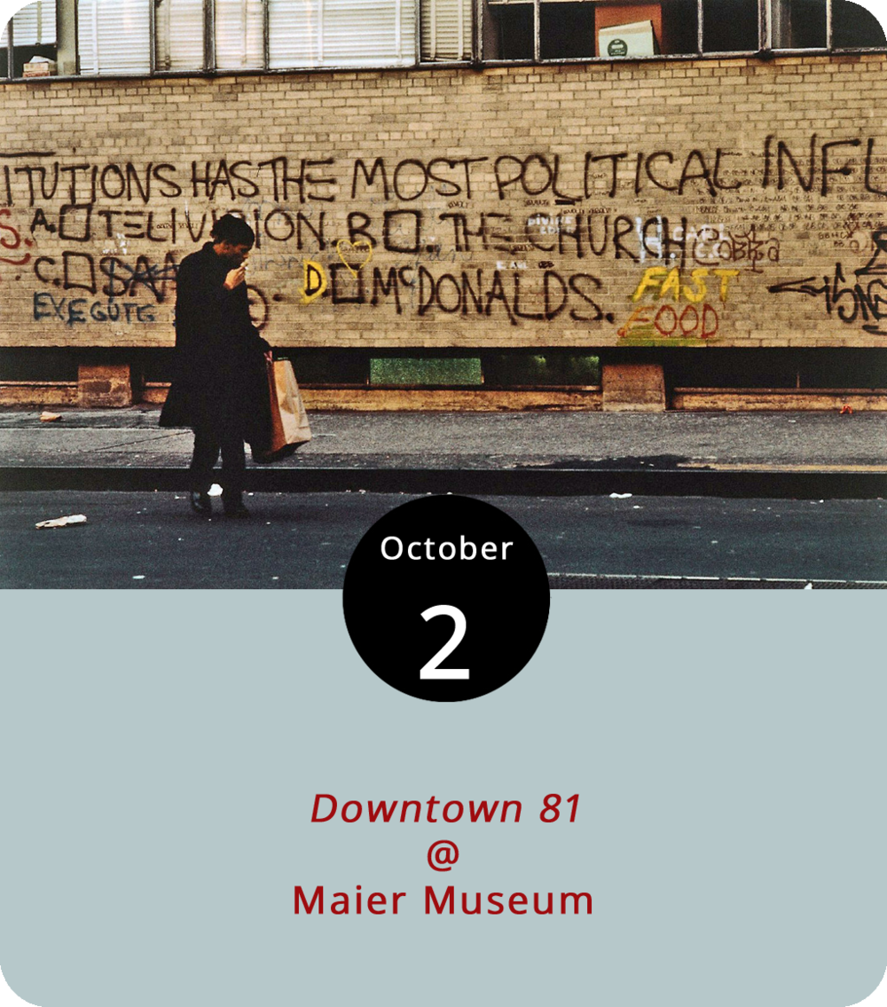 "For a poetic and maybe even tragic example of art imitating life, you don't have to look much further than the opening scenes of  Downtown 81  (2000), a film that stars Jean-Michel Basquiat as the down-and-out artist that he really was at the time. Last year, one of Basquiat's 1982 paintings fetched a record high price for a piece of American art at auction (over $100 million). But in 1981, the year this film was shot, Basquiat was just scraping by as a relatively unknown member of NYC's gritty downtown art scene. Basquiat is essentially homeless in the film — which wasn't released until 12 years after his 1988 death — much as he was for real at the time. The film screens for free at 7 p.m. at the Maier Museum (1 Quinlan St.) as part of the exhibit ""Zeitgeist: The Art Scene of Teenage Basquiat."" Click  here  or call (434) 947-8136 for more info."