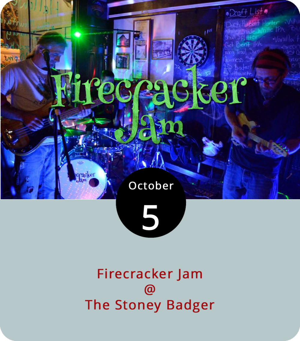 The local guitar-less trio Firecracker Jam get their string power from the mandolin, which is only somewhat unusual for a band that inhabits a space somewhere between Gratefully Dead noodling and psychedelic Phishing. Tonight they'll settle into their jammy groove at the Stoney Badger (3009 Old Forest Rd.), where they're scheduled to play from 9 p.m. until midnight. No word yet on the cover charge, but it's usually no more than $5 on a Friday night. For more info, click  here  or call (434) 384-3004.