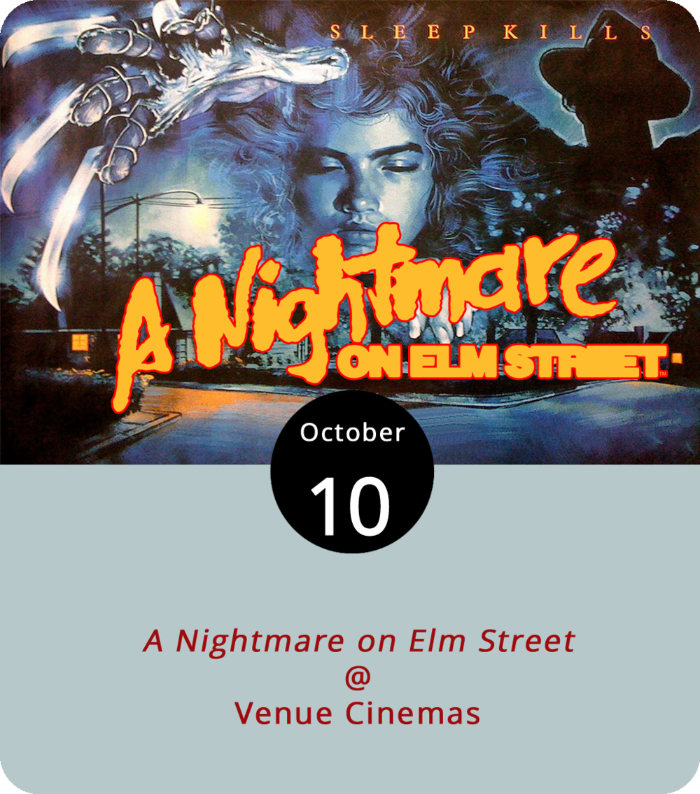 Here's a fun fact about the first installment of director Wes Craven's phenomenally successful, career-defining 1984 slasher classic  A Nightmare on Elm Street : it was not Craven's first film, or even his first horror film. Two years earlier he'd directed  Swamp Thing , and his  The Hills Have Eyes  came out in 1977. And here's a funner fact about the first Freddie Krueger vehicle: it was Johnny Depp's big-screen debut. He plays Glen Lanz, who suffers one of the more spectacularly bloody dreamworld deaths in the film. Venue Cinemas (901 Lakeside Dr.), which is in the middle of month-long Fright Fest that you can read more about below, screens  A Nightmare on Elm Street  today and tomorrow at 12:45, 3:30, 6:30, and 9:30 p.m. Click  here  or call (434) 845-2398 for ticketing and more info.